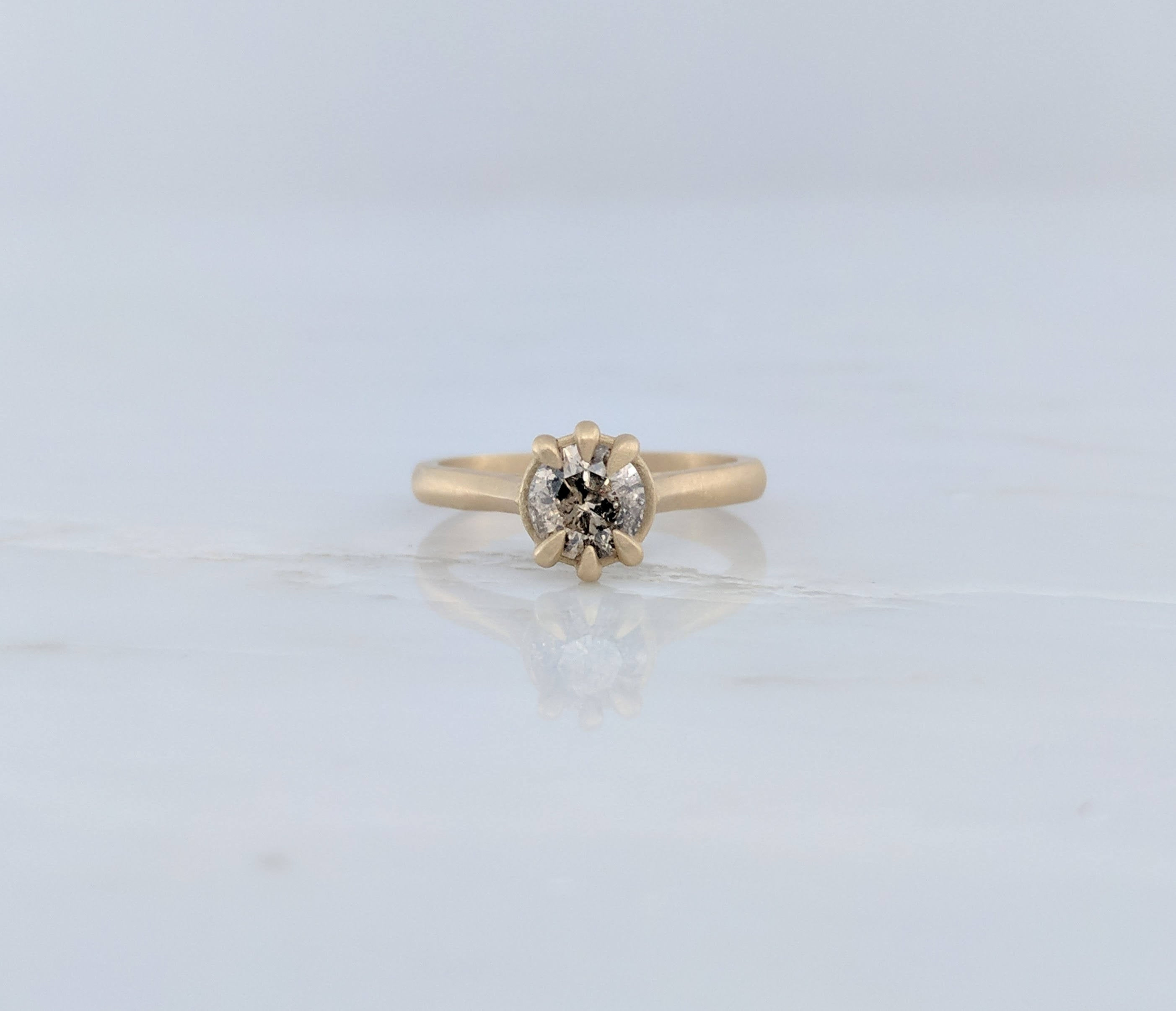 Champagne Diamond Ring in 14K Yellow Gold