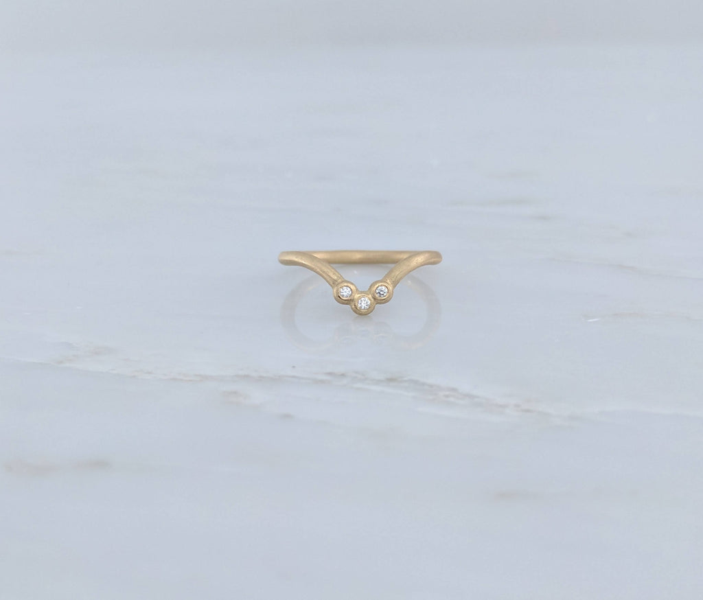 Curved Ring with Diamond Trio Accent in 14K Yellow Gold