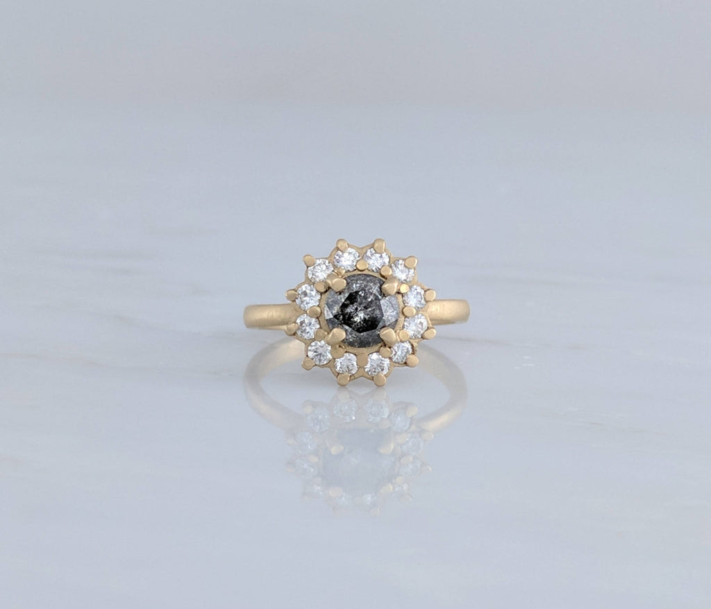 Gray Diamond Cluster Ring in 14K Yellow Gold