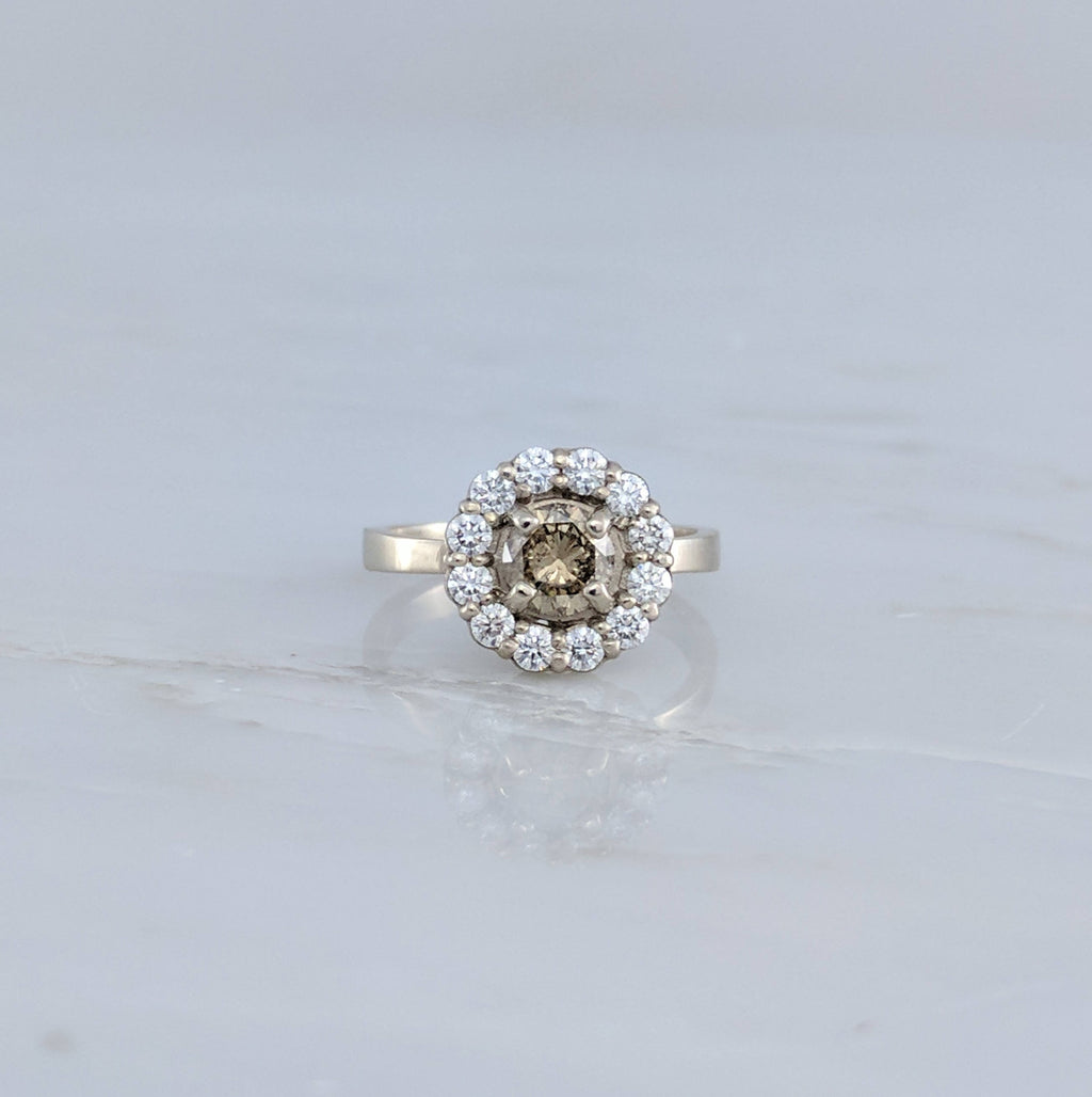 Champagne Diamond Halo Ring | 14K White Gold