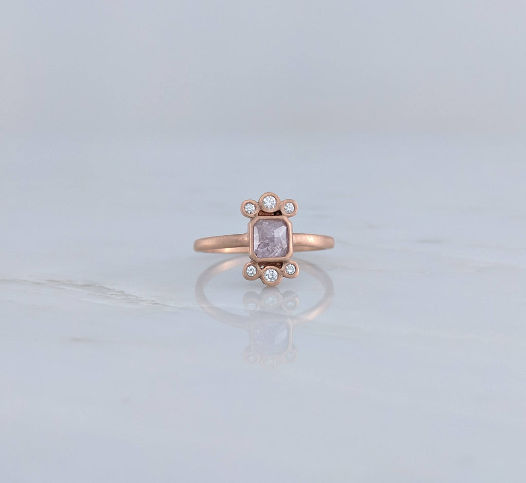 Pink Diamond Cluster Ring in Rose Gold