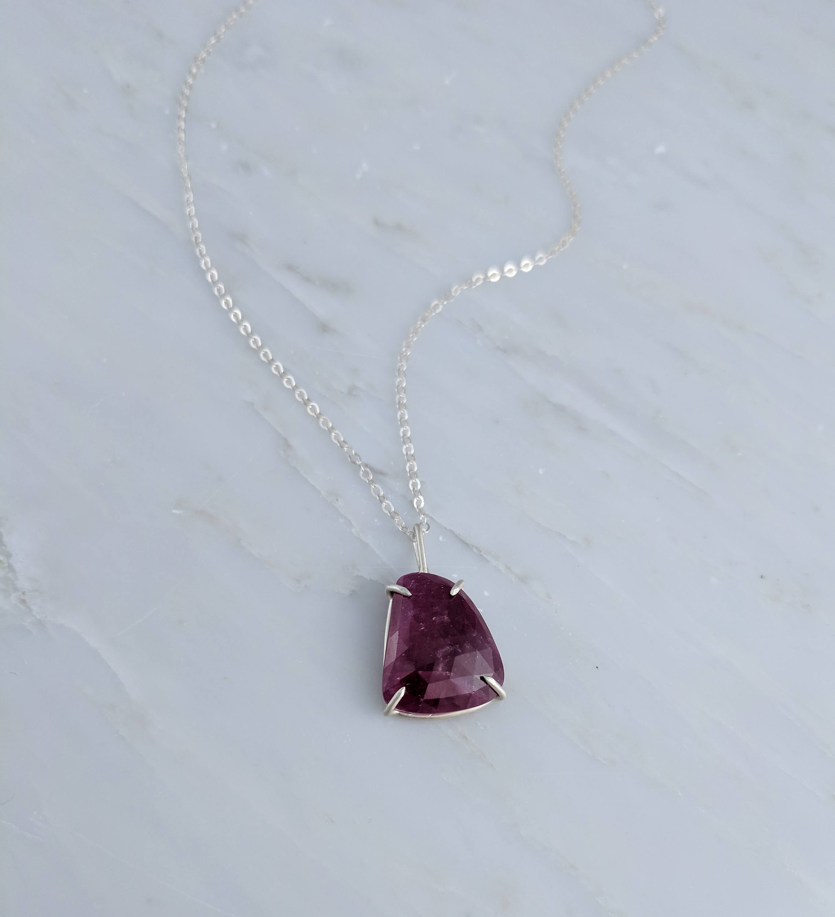 Natural Rose Cut Pink Sapphire Pendant Necklace Claw Set Sterling Silver Rustic Natural Sapphire Boho Layering Necklace Minimal Jewelry Pink