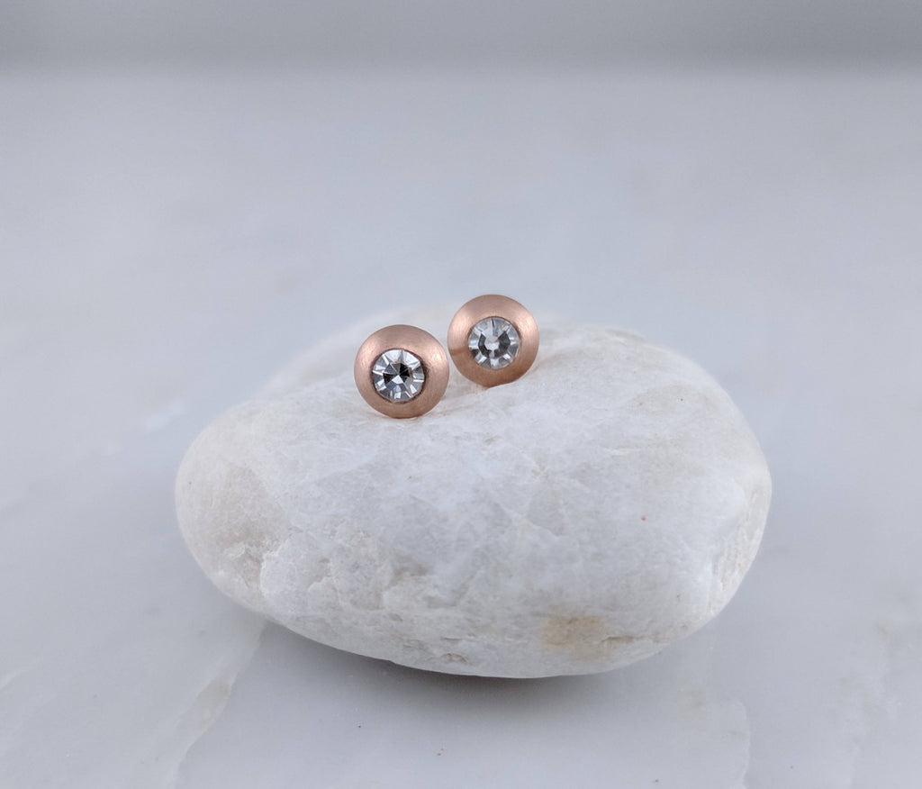 Round Diamond Stud Earrings in 14K Rose Gold