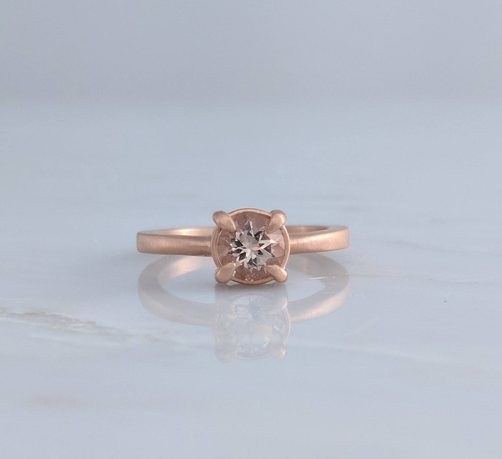 Morganite Solitaire in 14K Rose Gold Four Prong Setting
