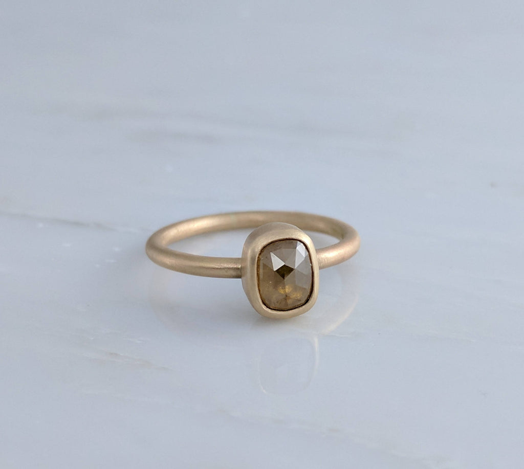 Gold Oval Diamond Ring in 14K Gold