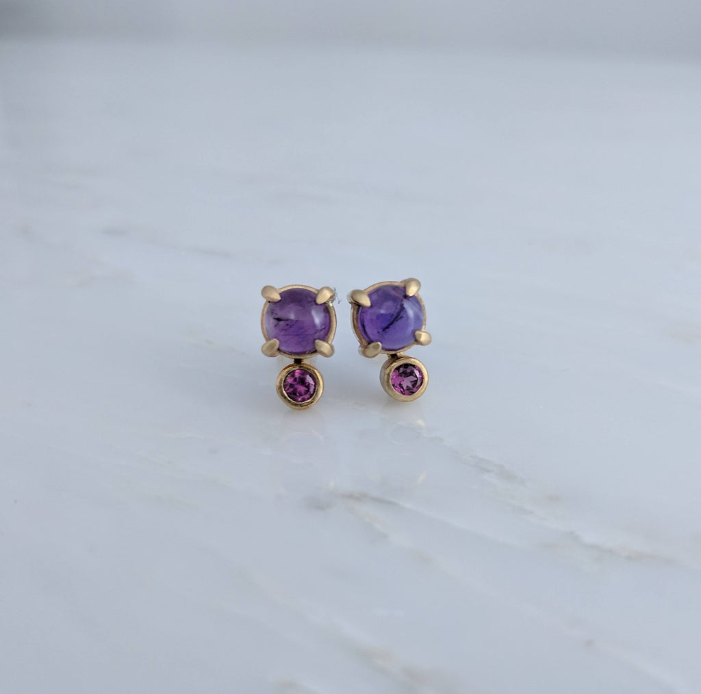 Amethyst + Garnet Earrings in 14K Yellow Gold