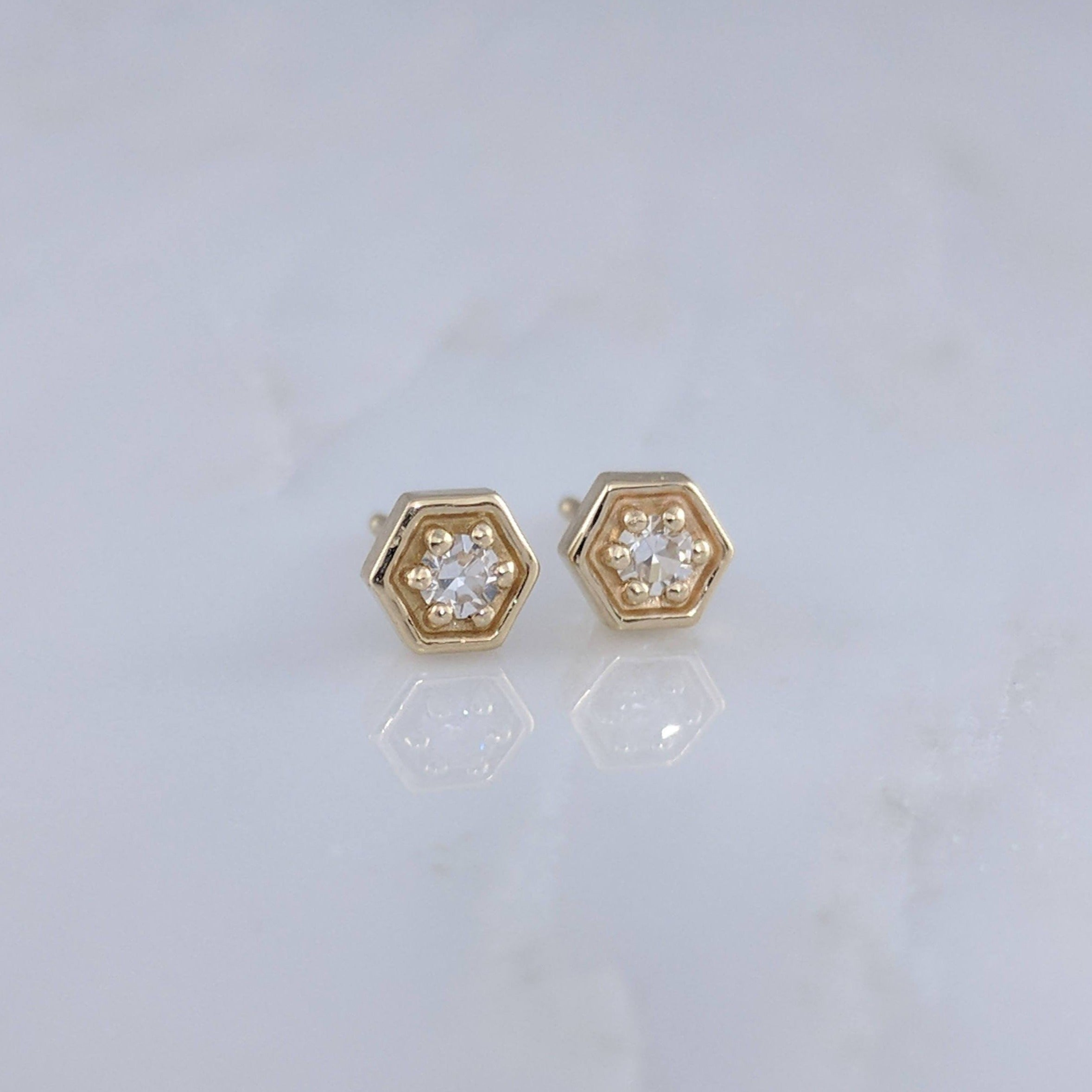 Tiny Diamond Hexagon Stud Earrings in 14K Yellow Gold
