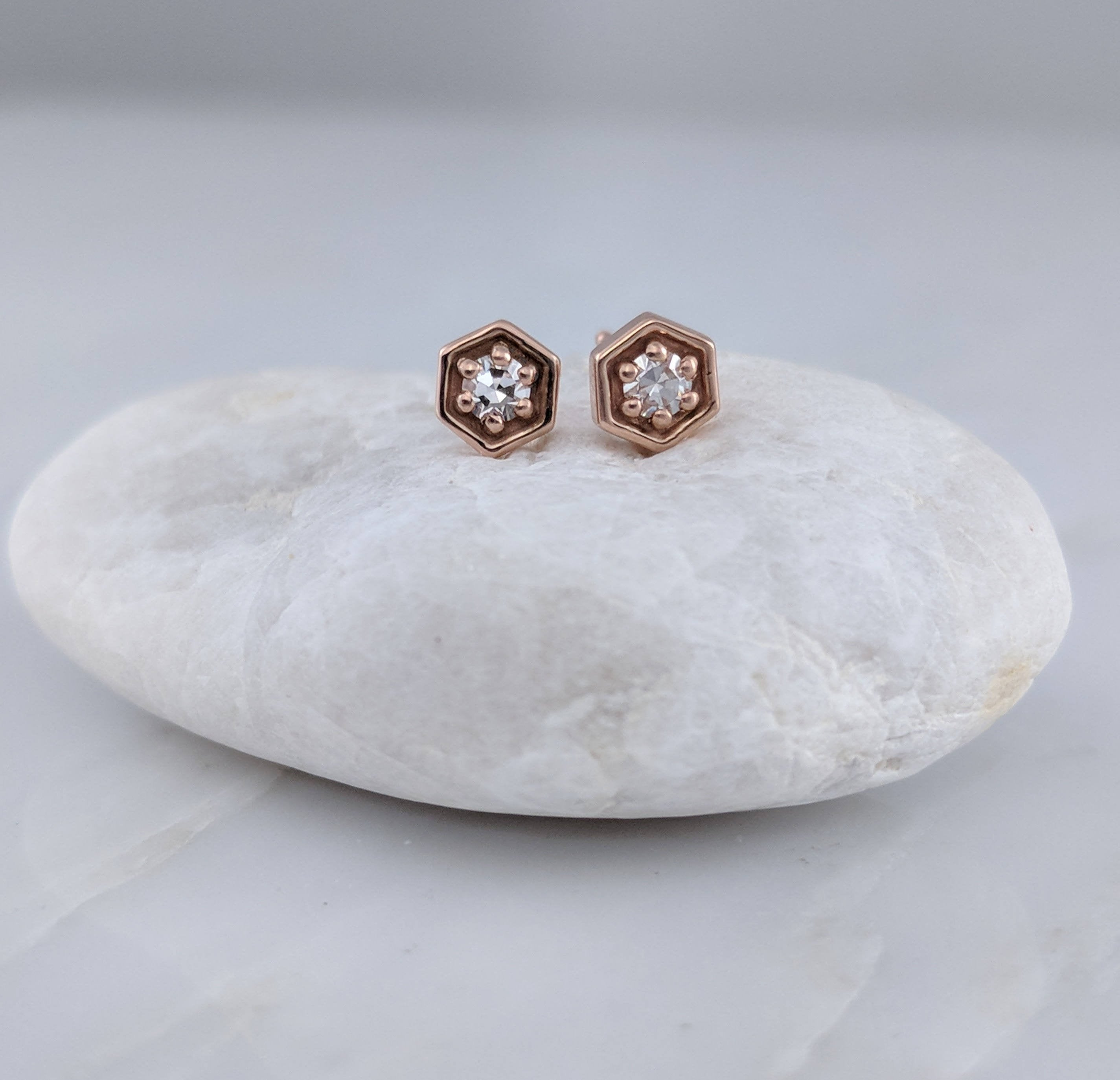 Tiny Diamond Hexagon Stud Earrings in 14K Rose Gold