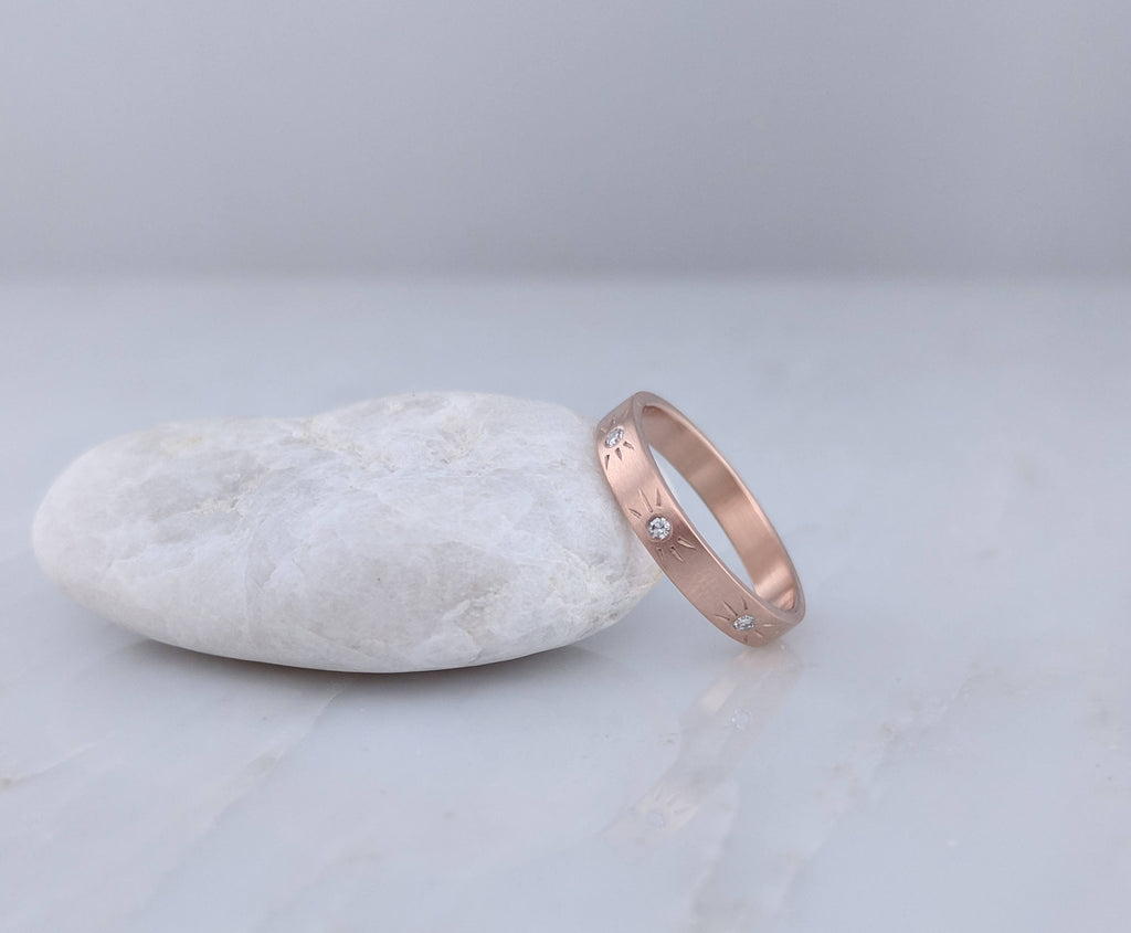 Starburst Diamond Band in 14K Rose Gold