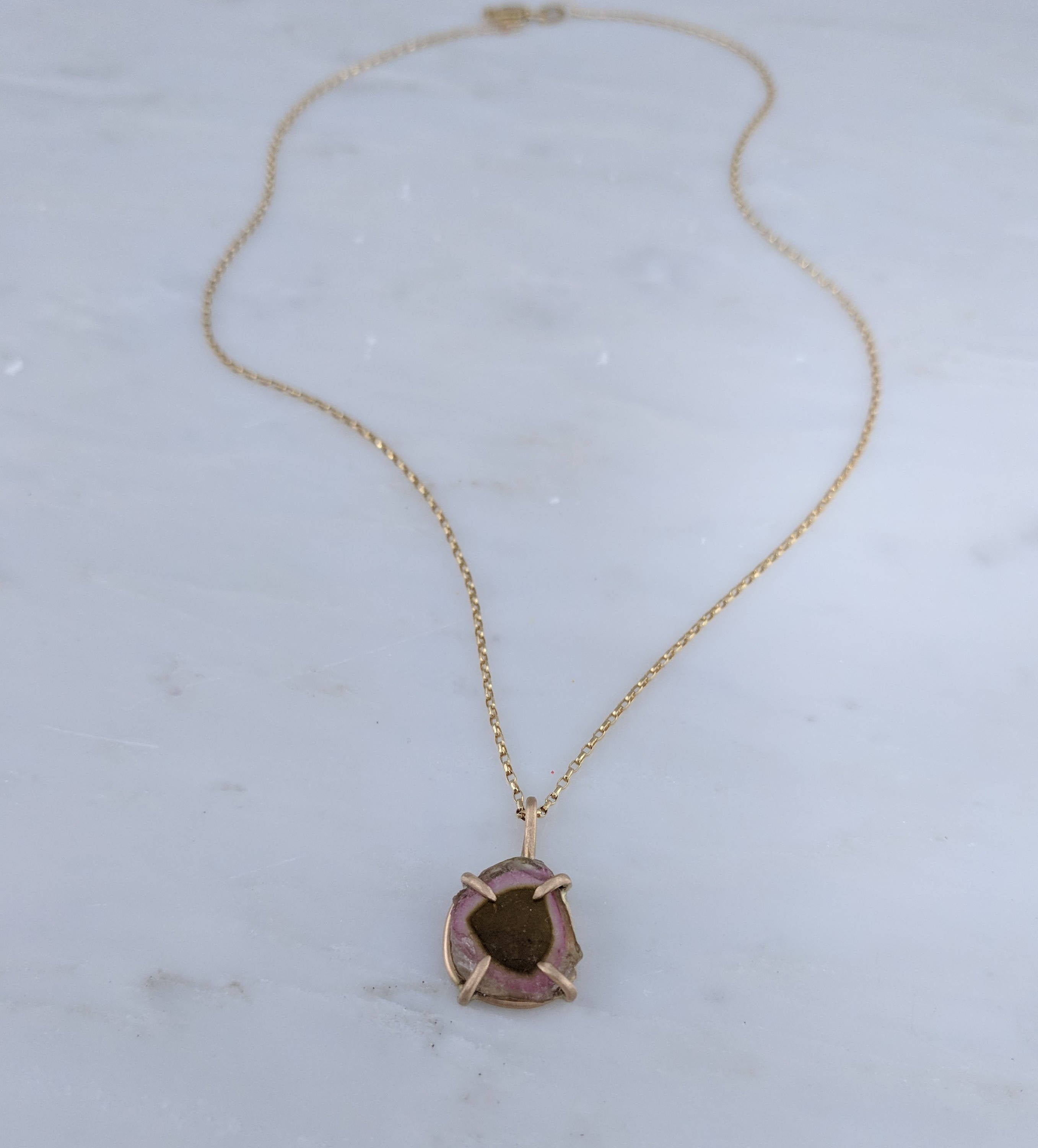 Watermelon Tourmaline Necklace in 14K Gold