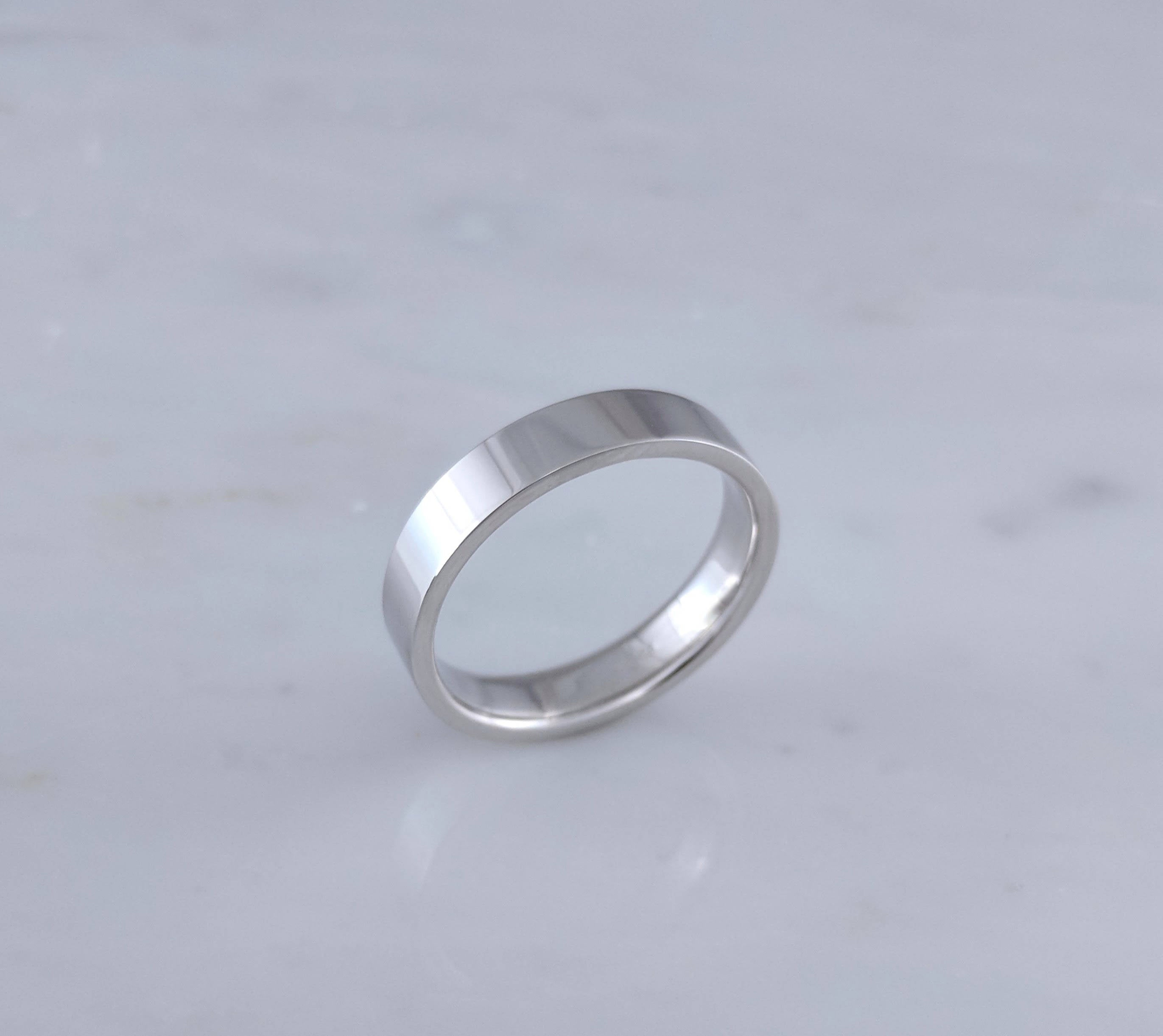 Men's 5mm 14K White Gold Flat Band
