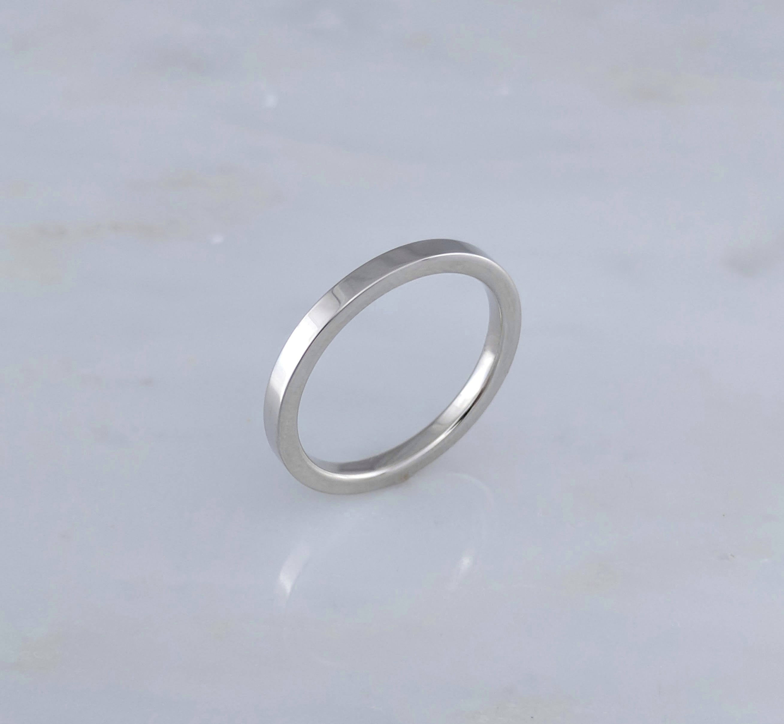 2mm Comfort Fit 14K White Gold Ring