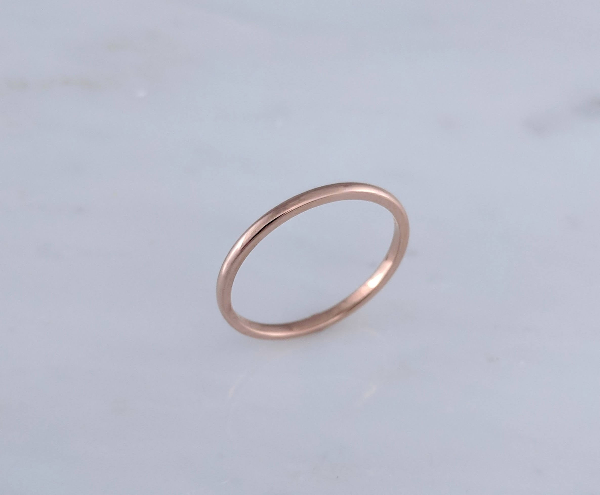 1.5mm 14K Rose Gold Half Round Band