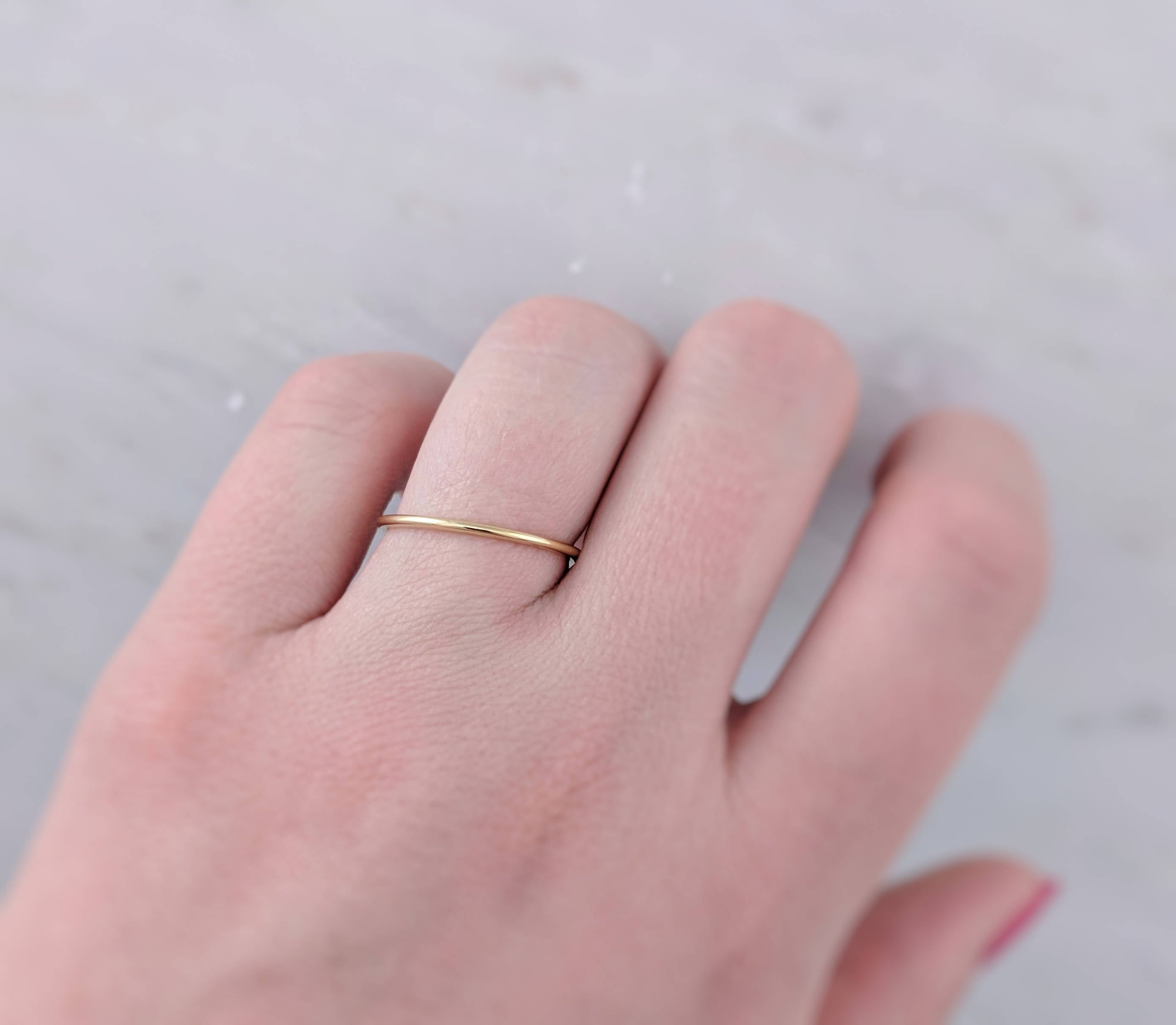 Thin 14K Yellow Gold Wedding Band | Thin Half Round Gold Wedding Ring | Thin Gold Ring | Simple Wedding Ring | Yellow Gold | Minimal Ring