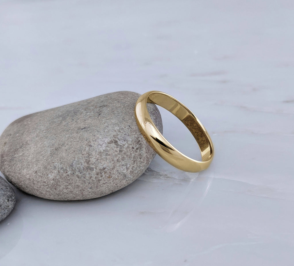 Men's 4mm 14K Yellow Gold Half Round Wedding Band