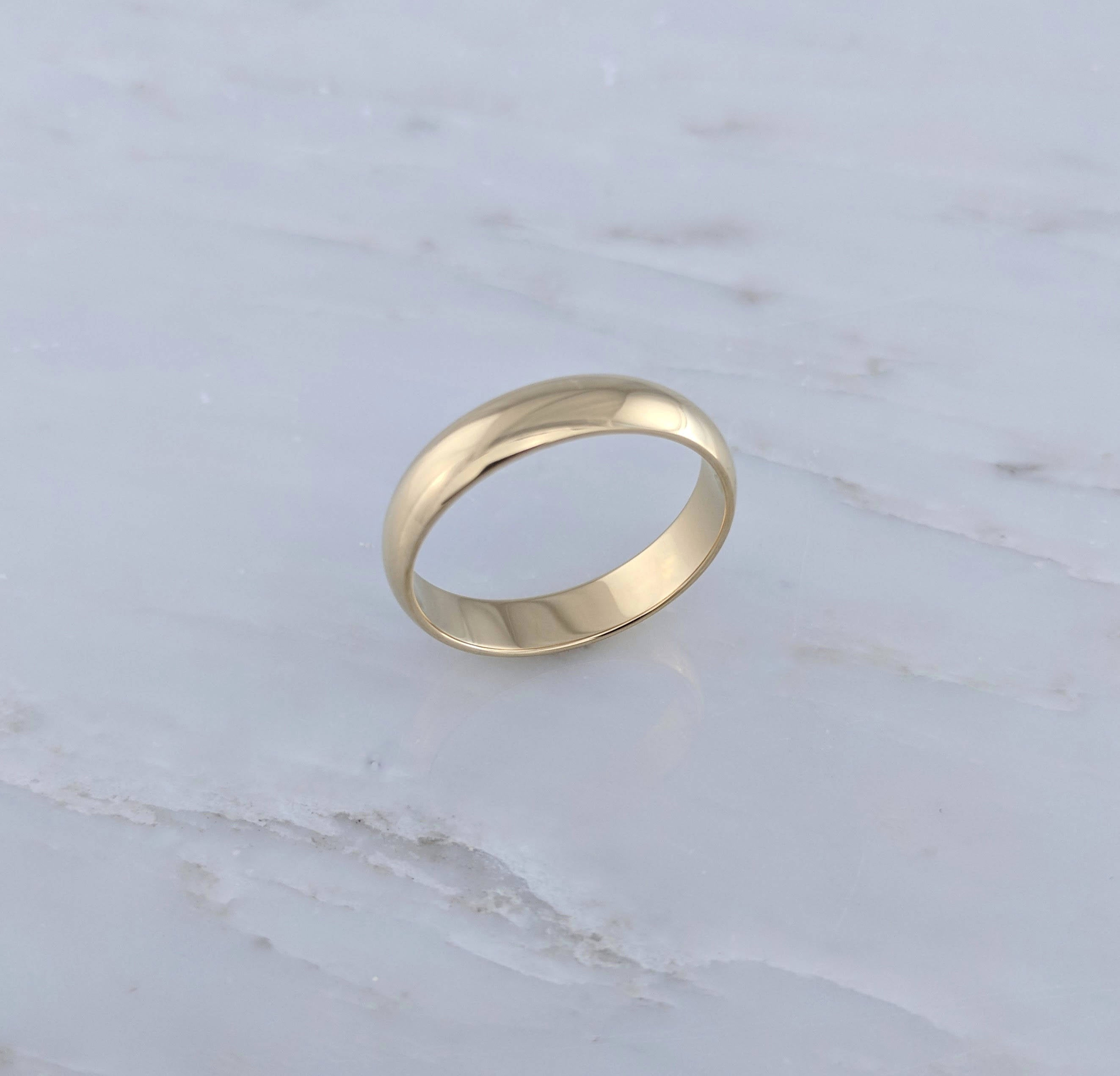 Men's 5mm 14K Yellow Gold Half Round Wedding Band