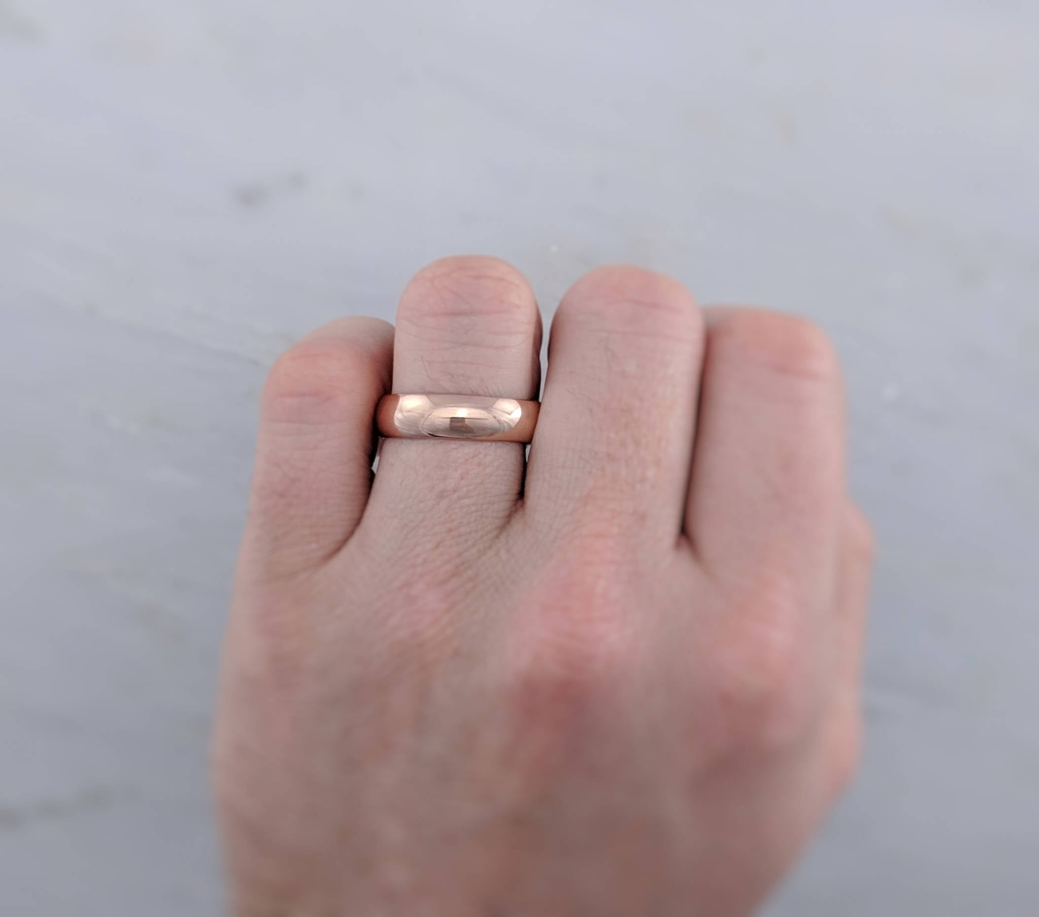 Men's 6mm 14K Rose Gold Half Round Band