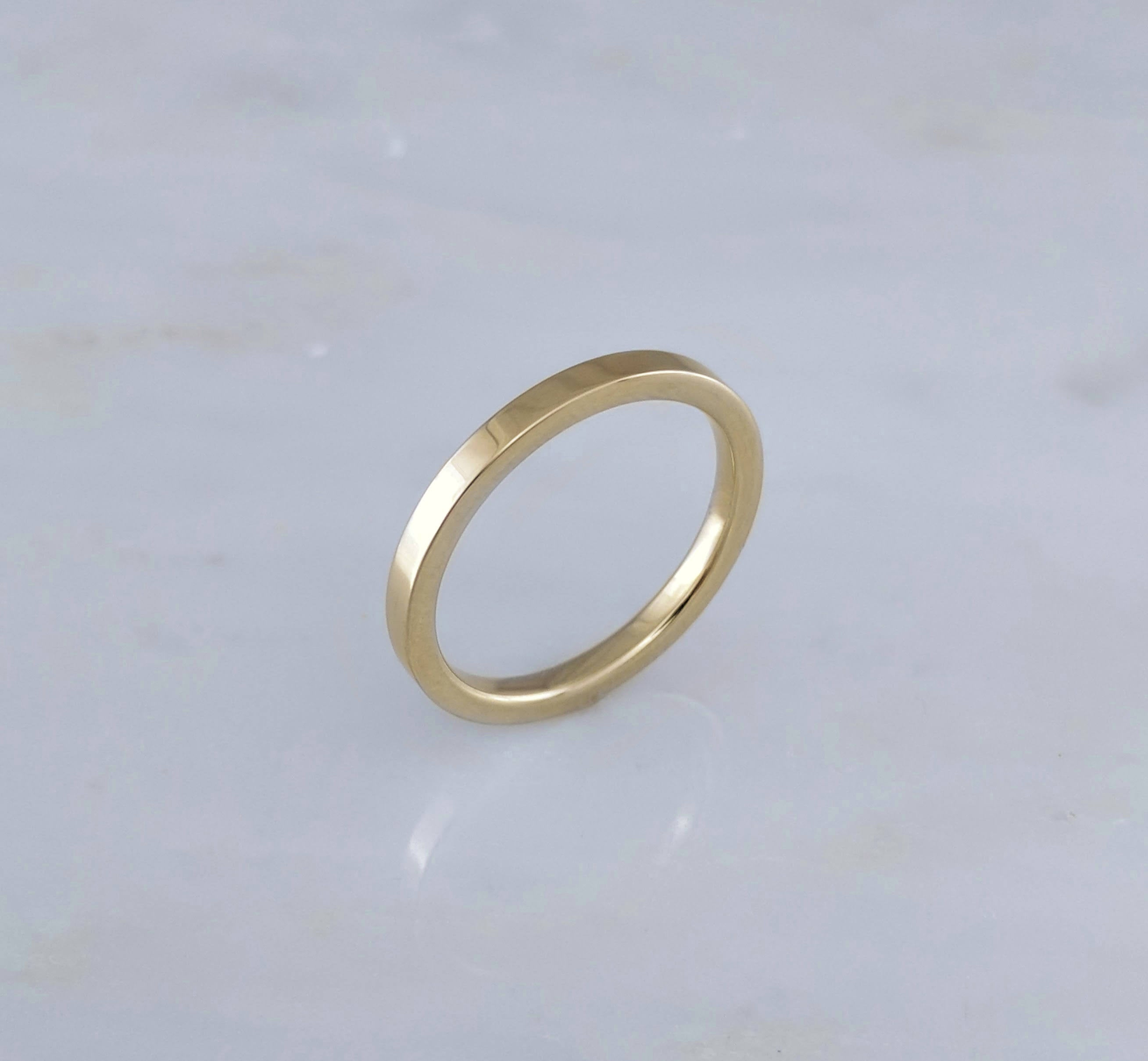 2mm 14K Yellow Gold Flat Band