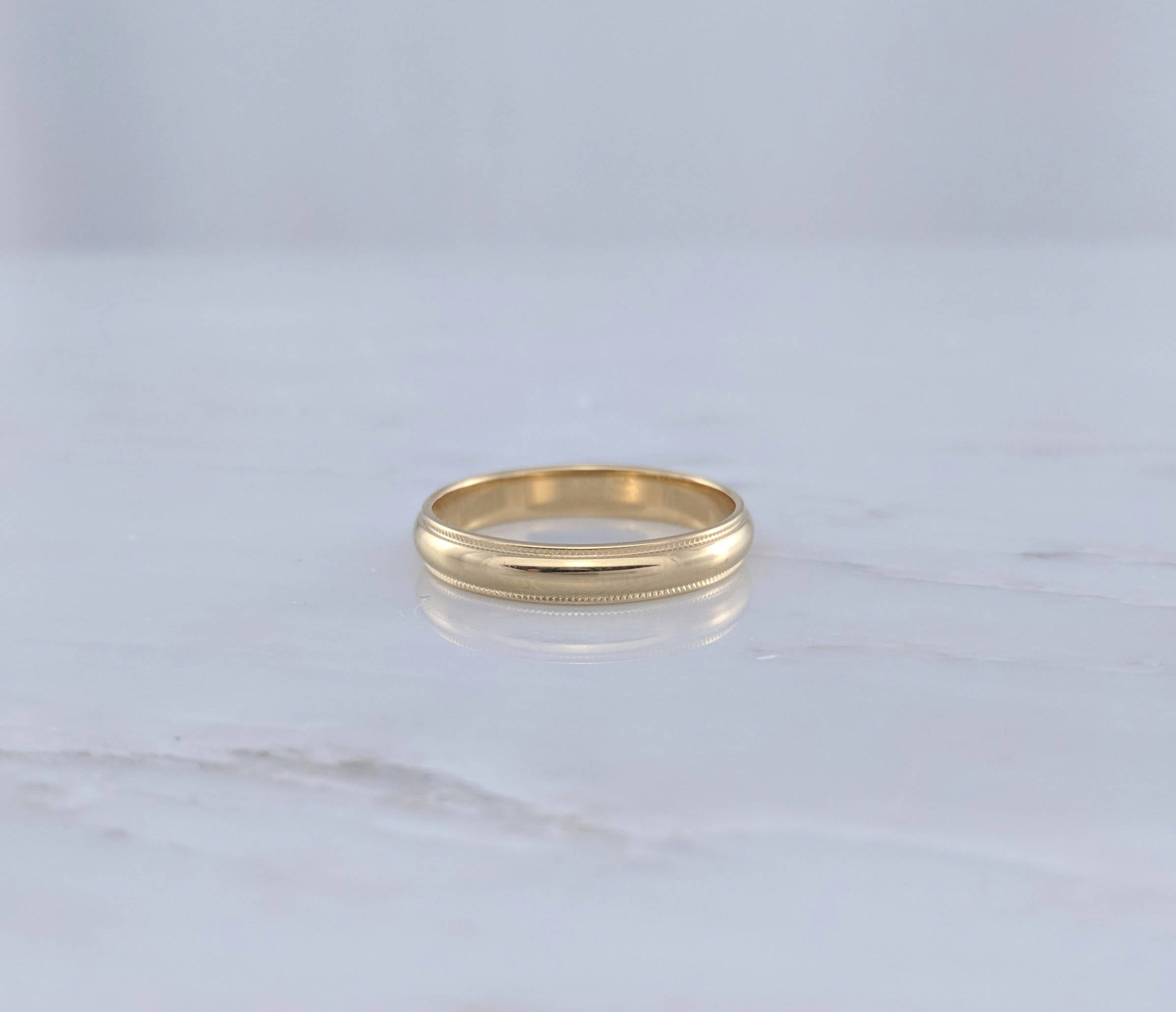 Men's 4mm 14K Yellow Gold Half Round Wedding Band with Milgrain Edge