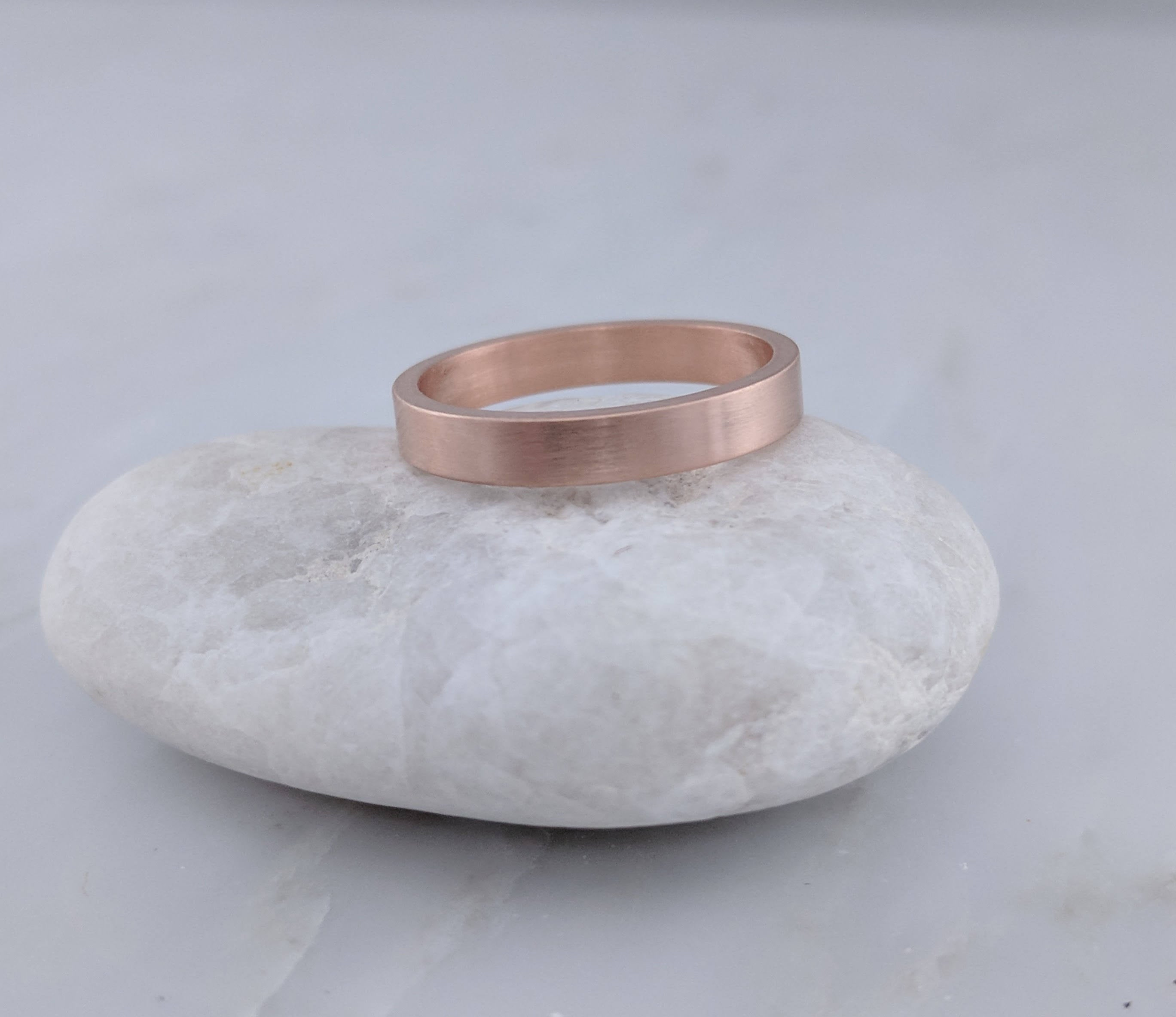 3mm 14K Rose Gold Flat Band
