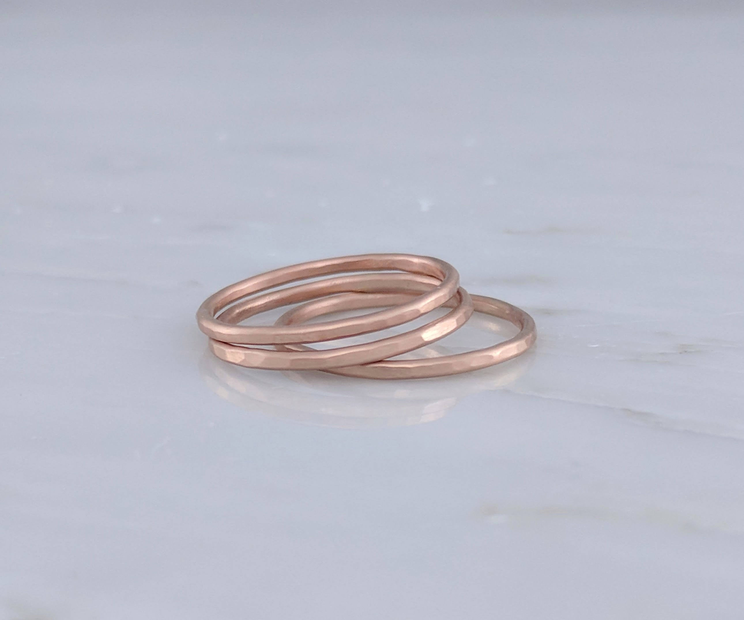 Set of 3 Hammered Stacking Rings | 14K Rose Gold