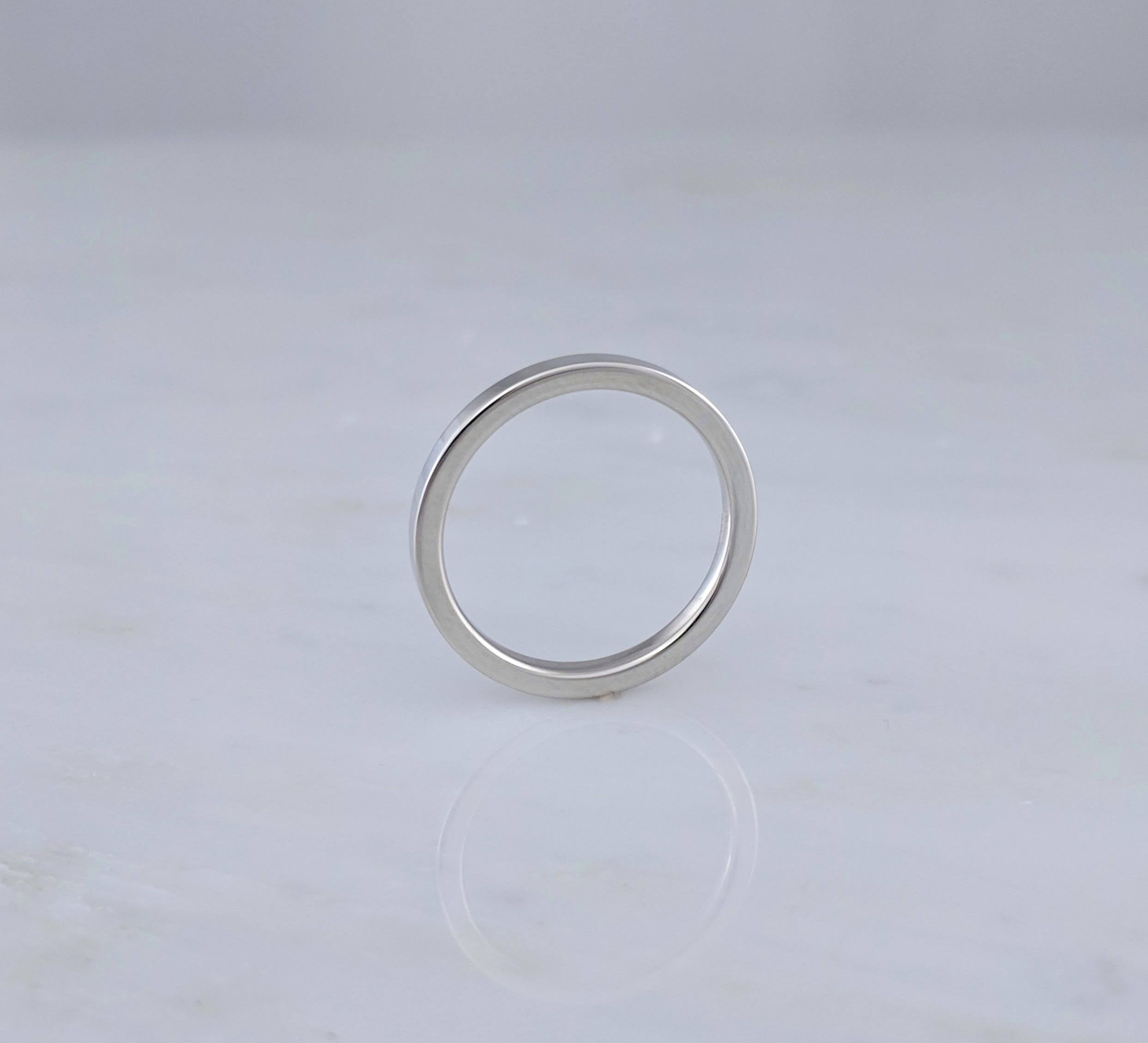 1.5mm 14K White Gold Flat Band