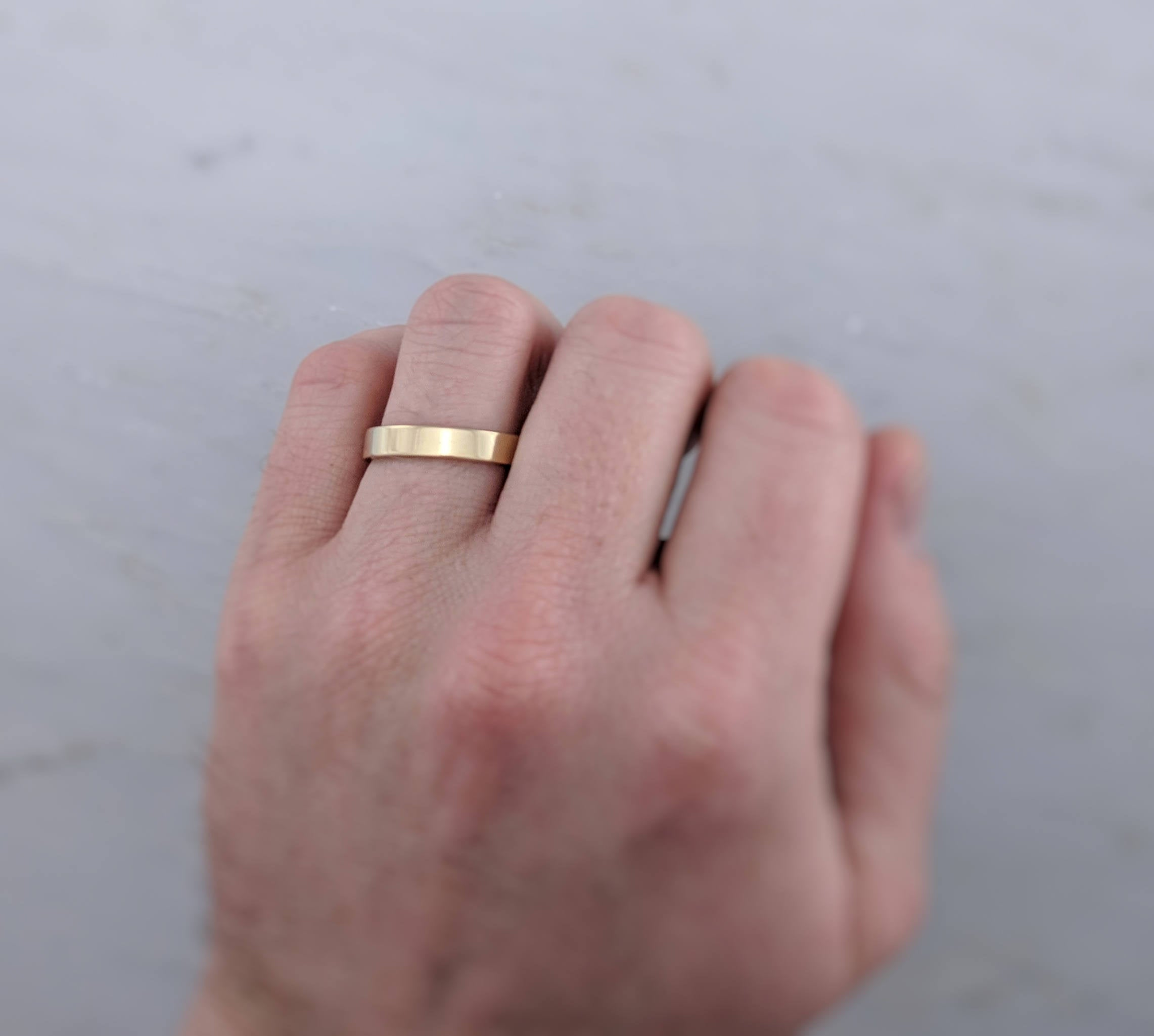 Men's 4mm 14K Yellow Gold Flat Band