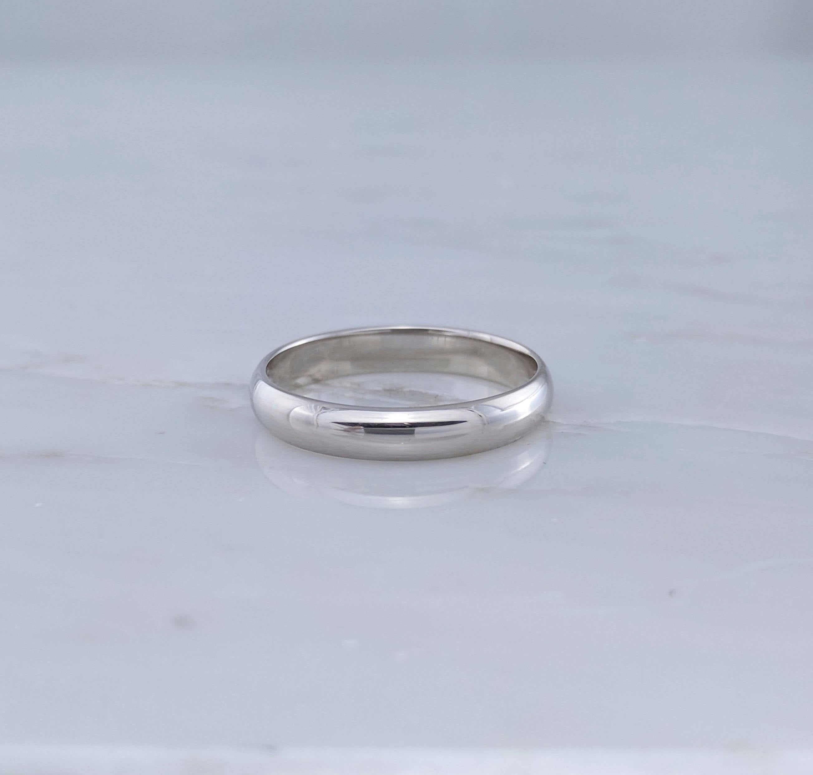 Men's 4mm 14K White Gold Half Round Band