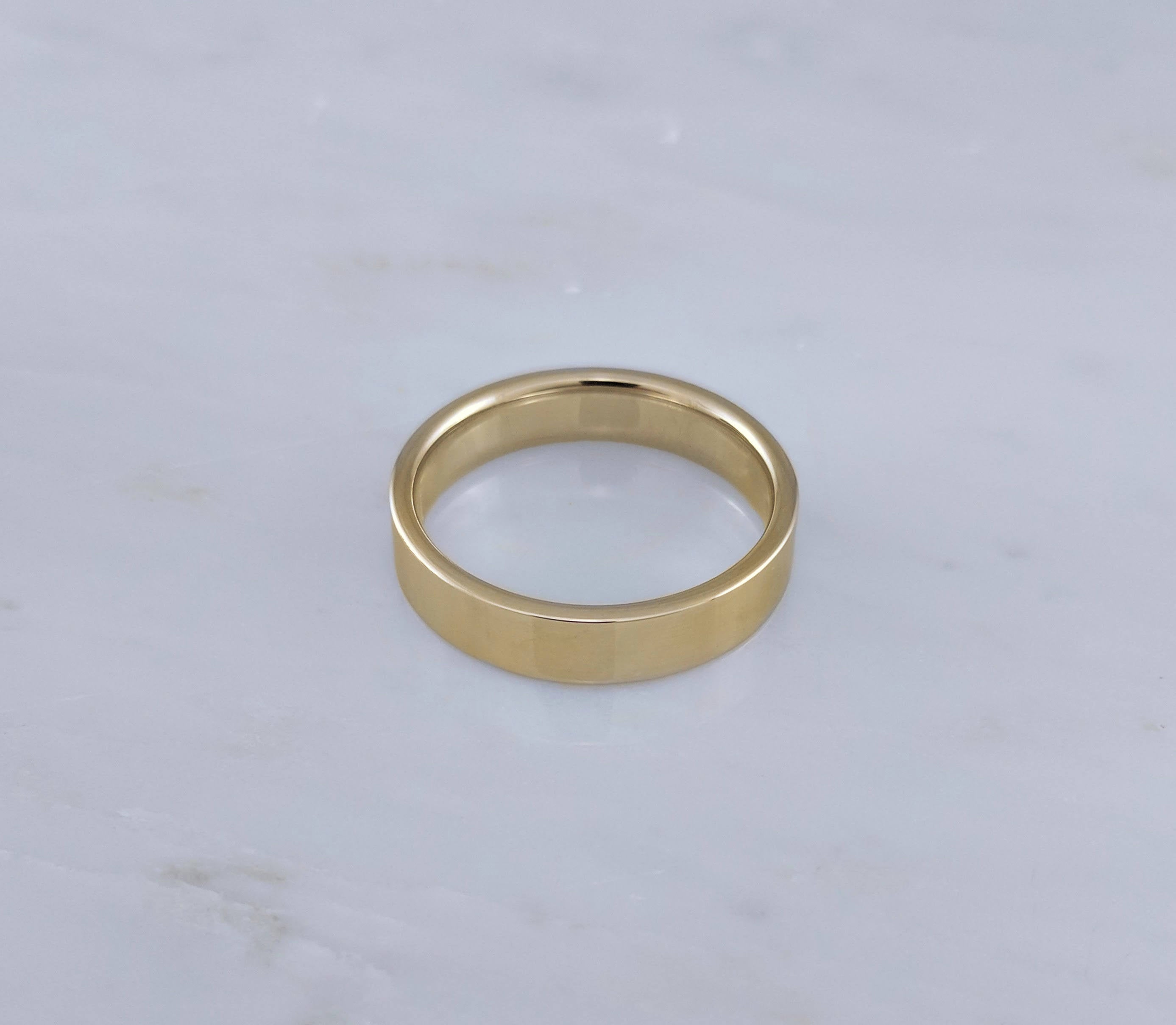 Men's 5mm 14K Yellow Gold Flat Band