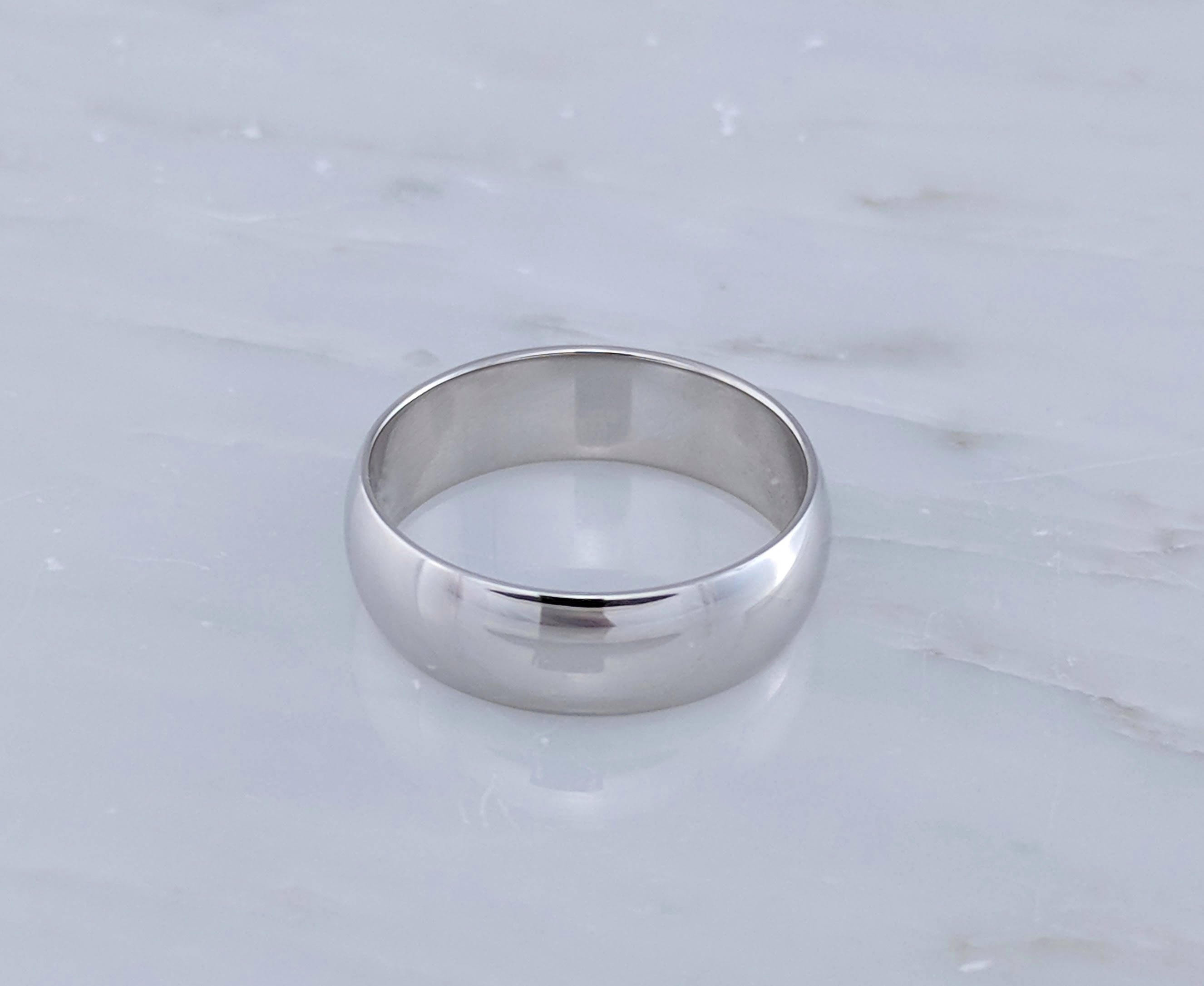 Men's 7mm 14K White Gold Half Round Band