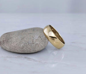 Men's 7mm 14K Yellow Gold Half Round Band