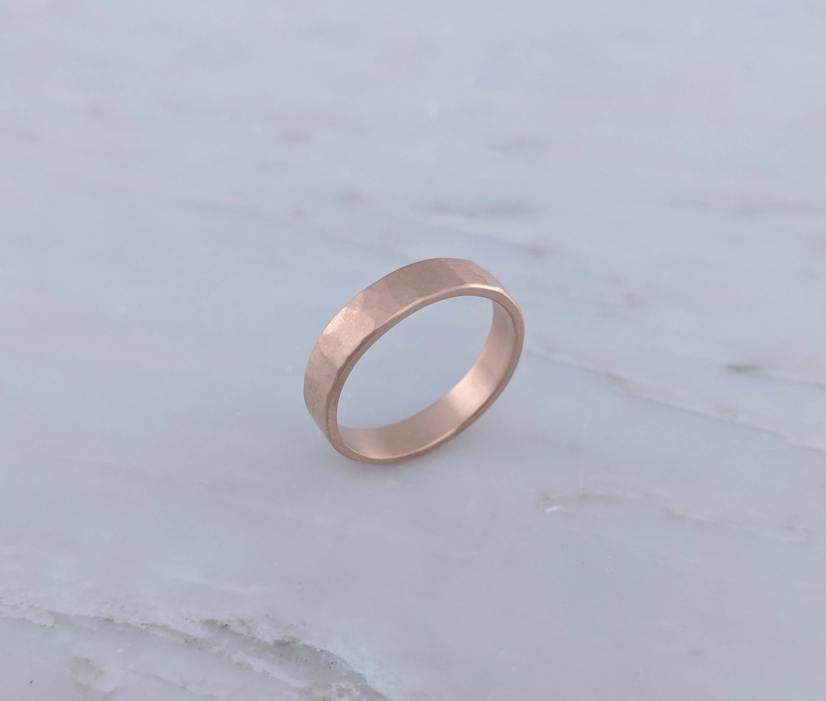 Men's 4mm Hammered Band in 14K Rose Gold