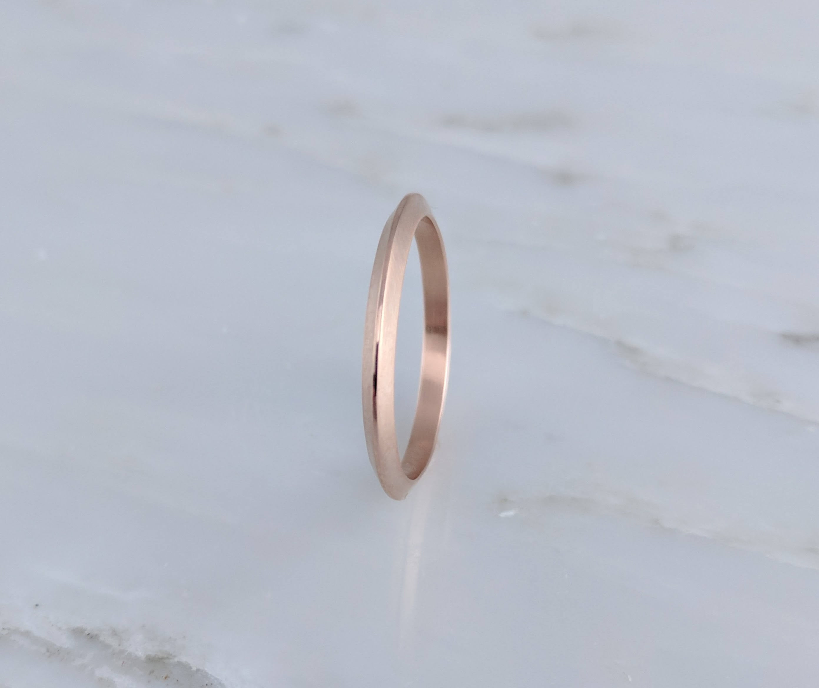 Rose Gold Knife Edge Ring | Rose Gold Wedding Band