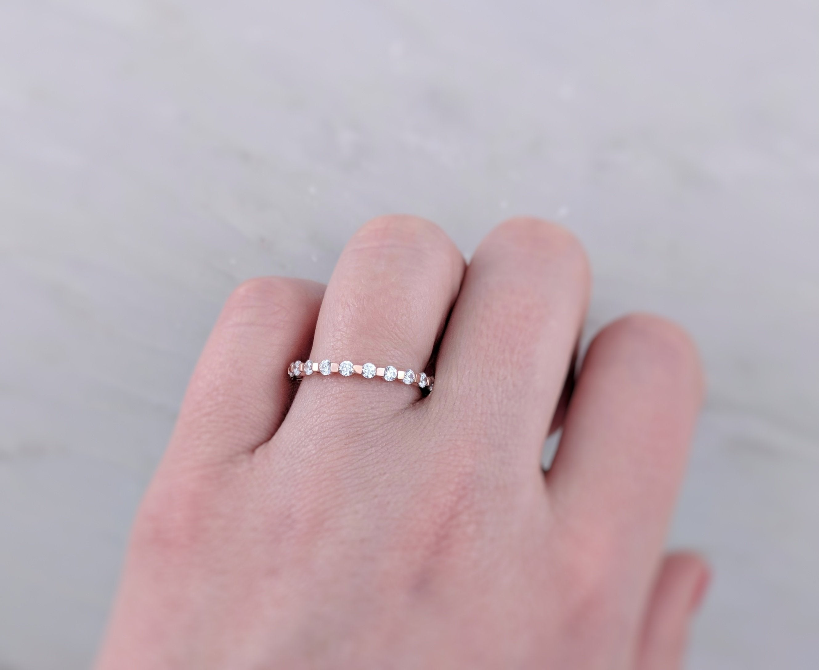 Diamond Spacer Ring in 14K Rose Gold