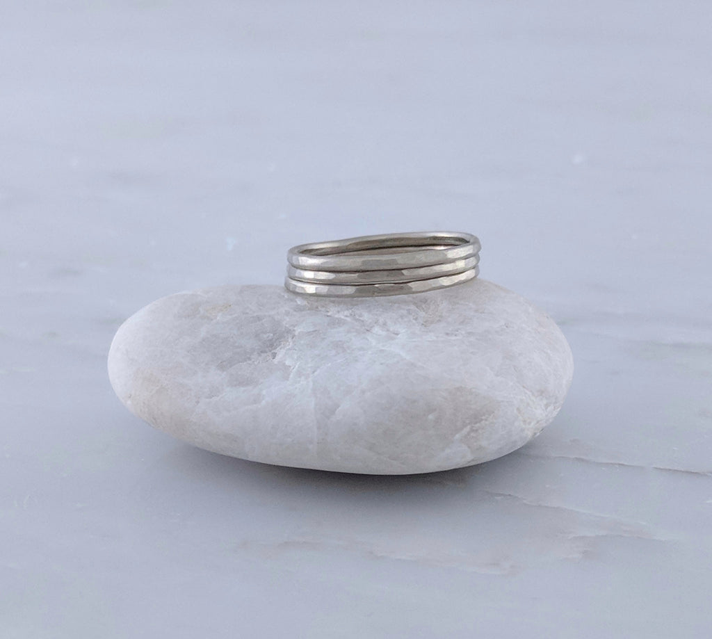 Set of 3 Hammered Stacking Rings | 14K White Gold