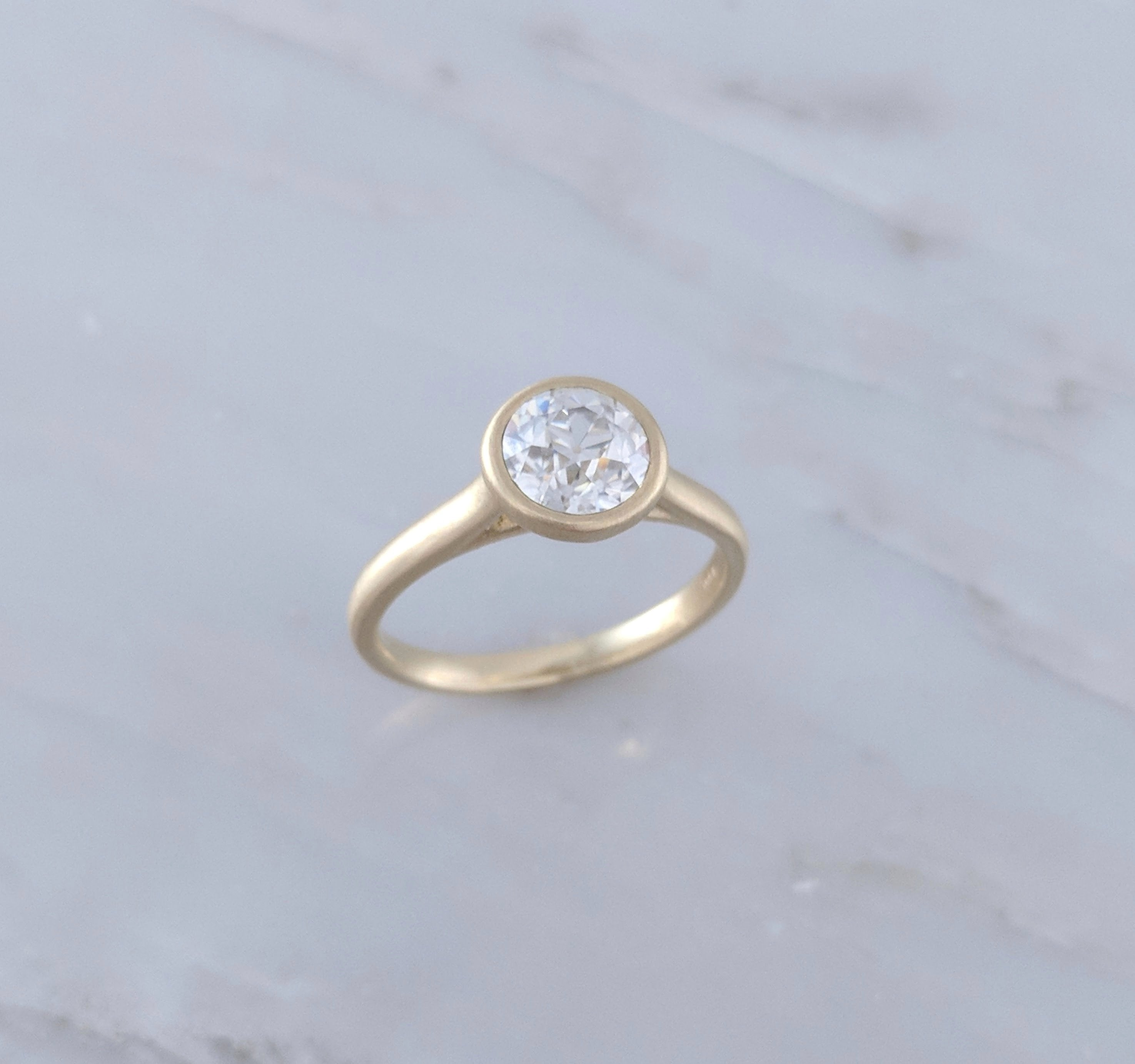 1 Ct Moissanite Ring, Moissanite Ring Old European Cut