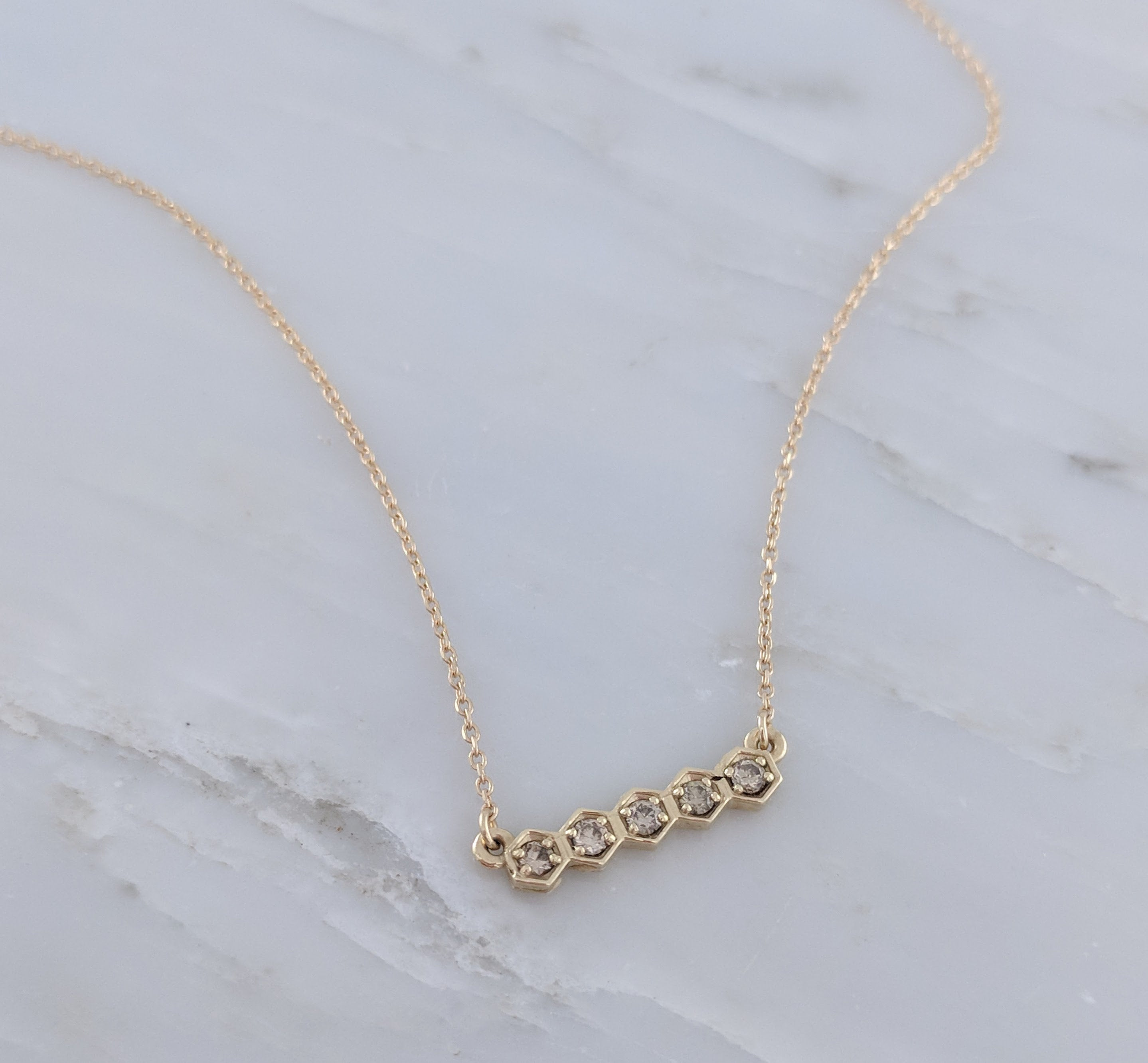 Tiny Diamond Hexagon Necklace in 14K Yellow Gold