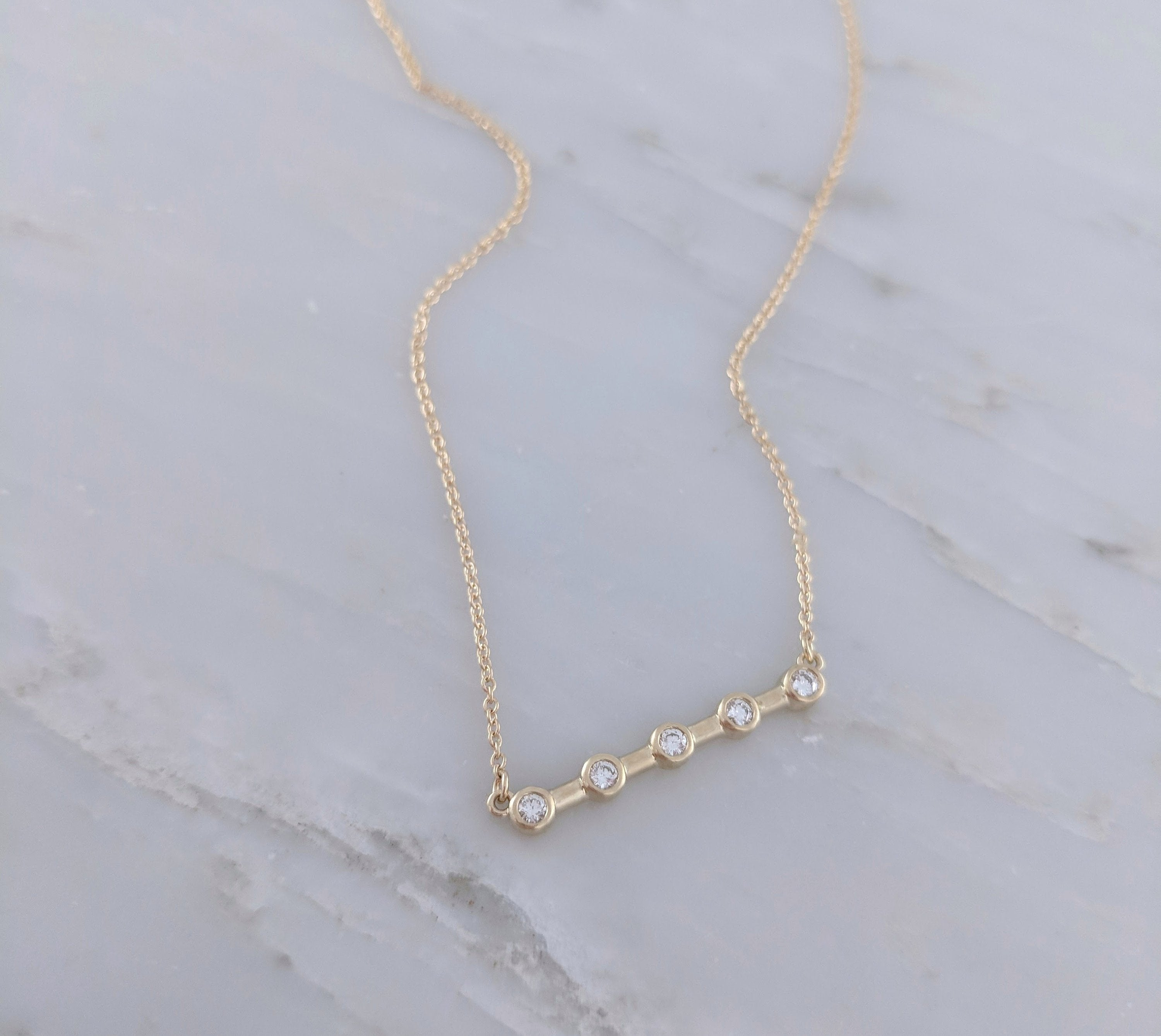 5 Stone Diamond Bar Necklace in Gold