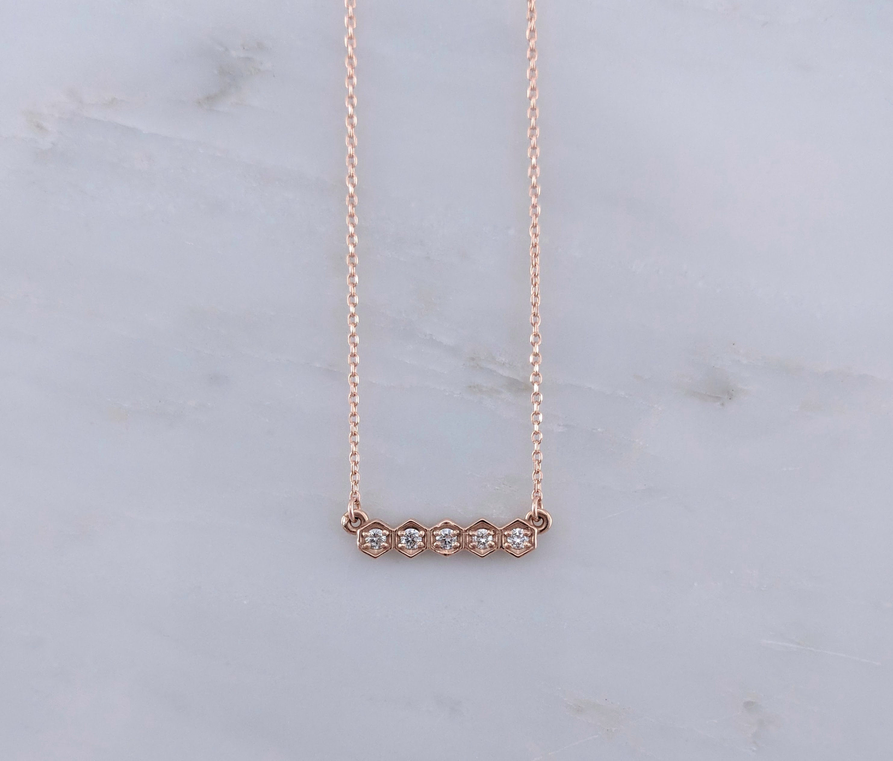 Tiny Diamond Hexagon Necklace in Rose Gold