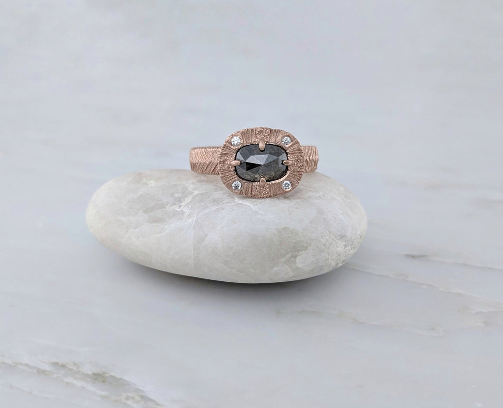 Oval Diamond Ring | Textured Rose Gold
