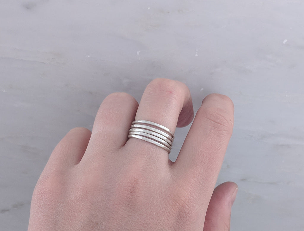 Slim Sterling Hammered Stacking Ring | Build A Ring Set
