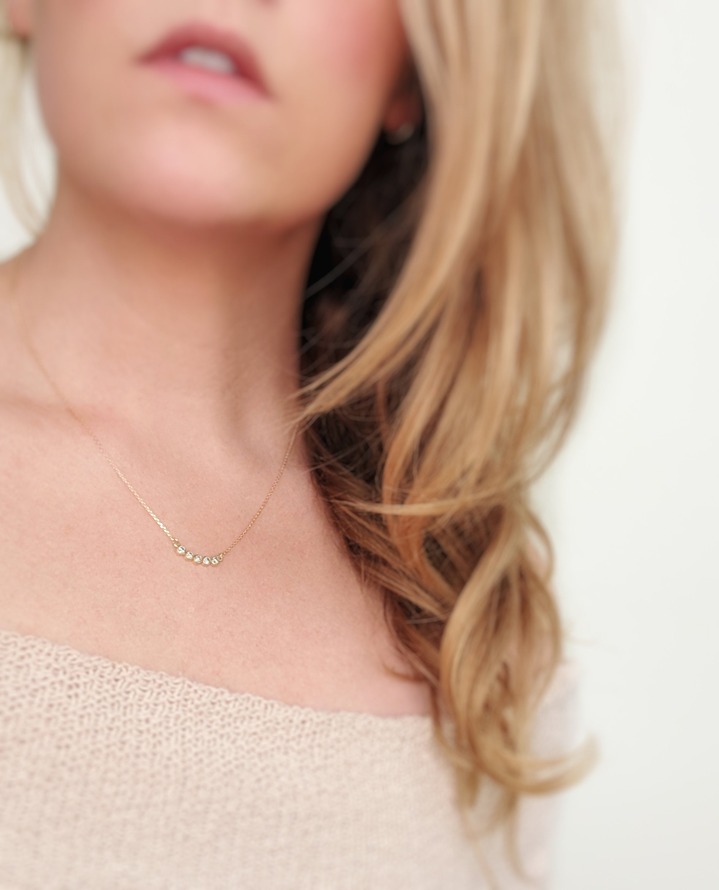 Salt & Pepper Diamond Arc Necklace in 14K Gold
