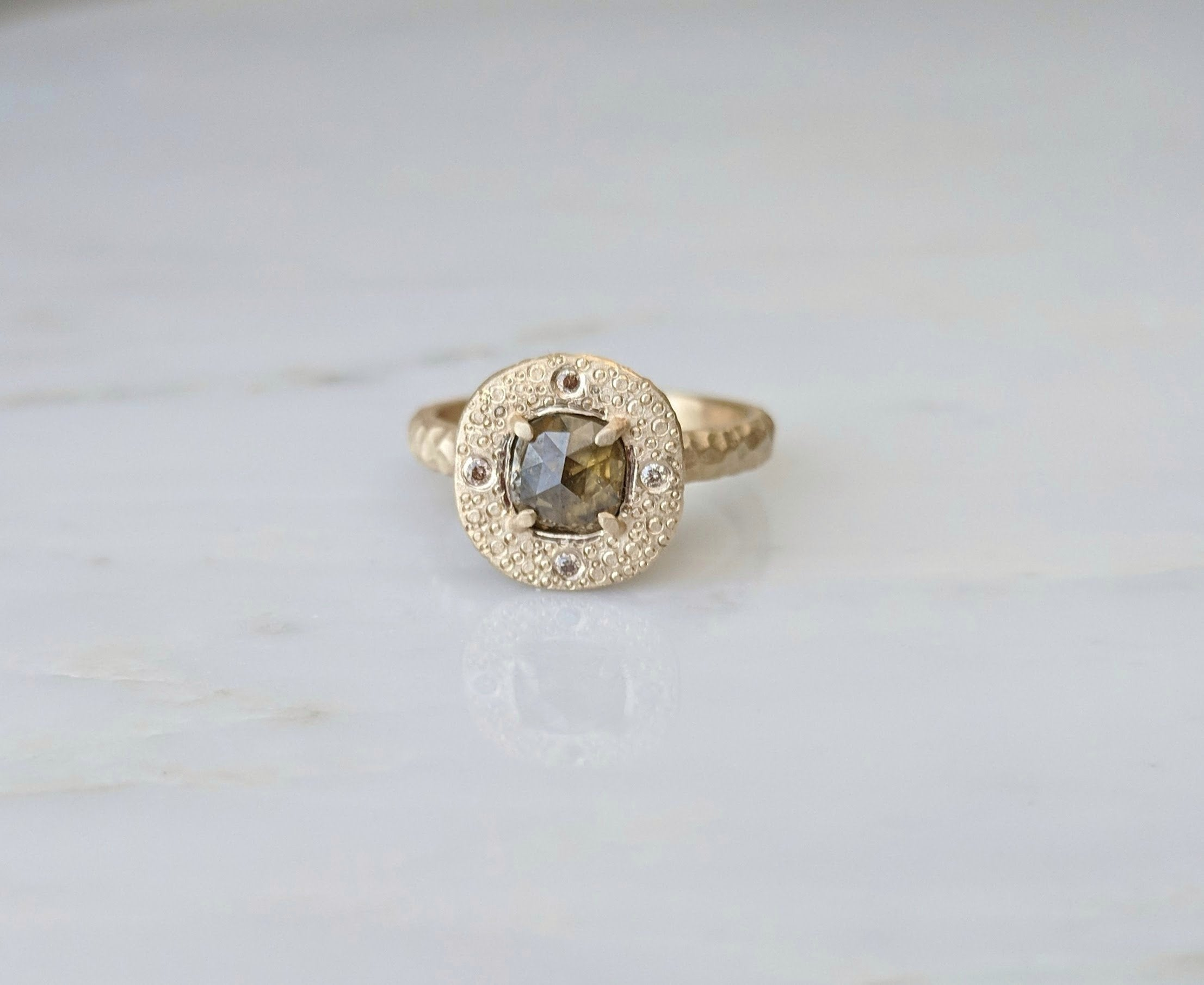 Olive Green Diamond Ring | 14K Textured Gold