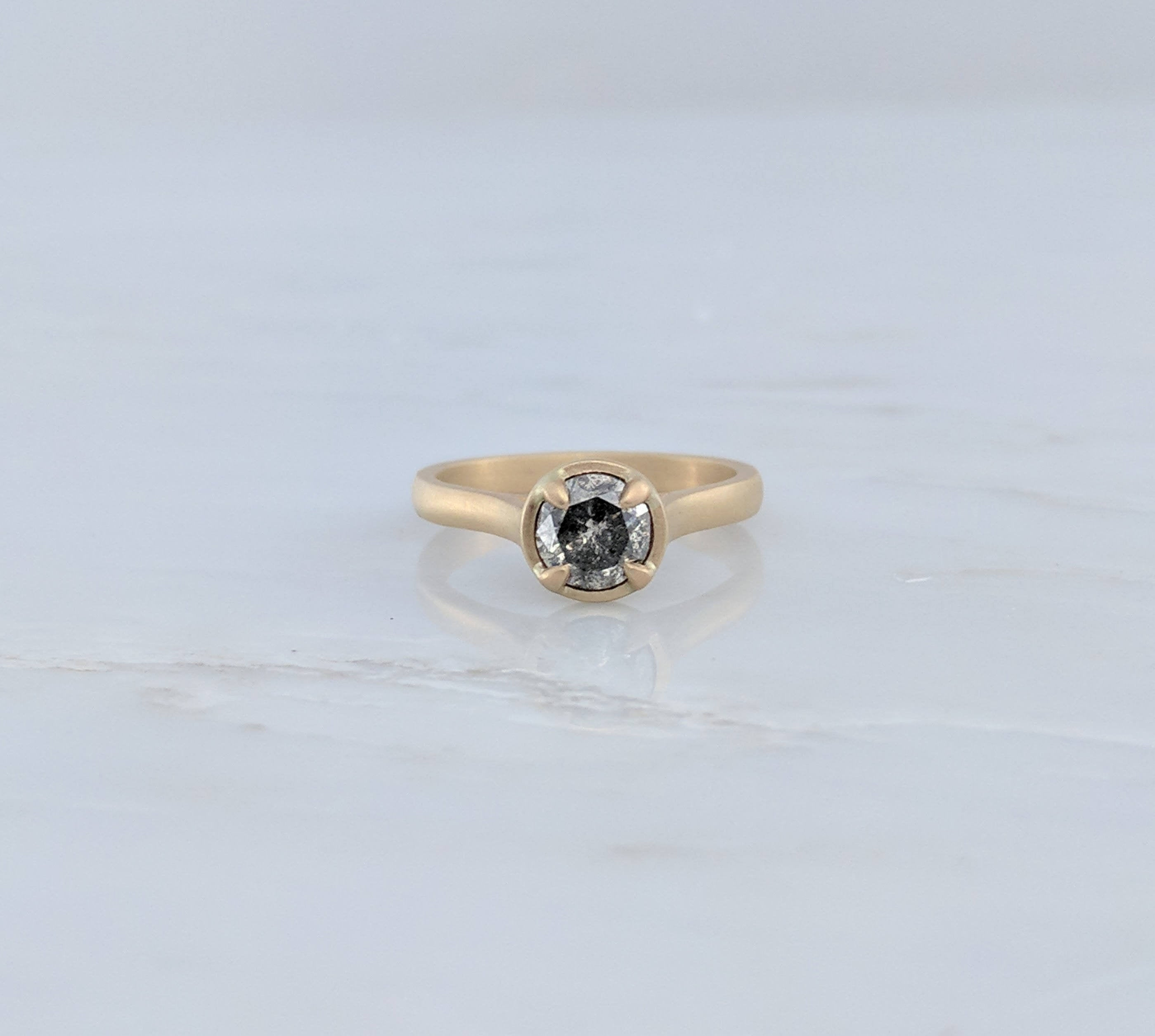 Salt and Pepper Diamond Ring | 14K Gold Ring