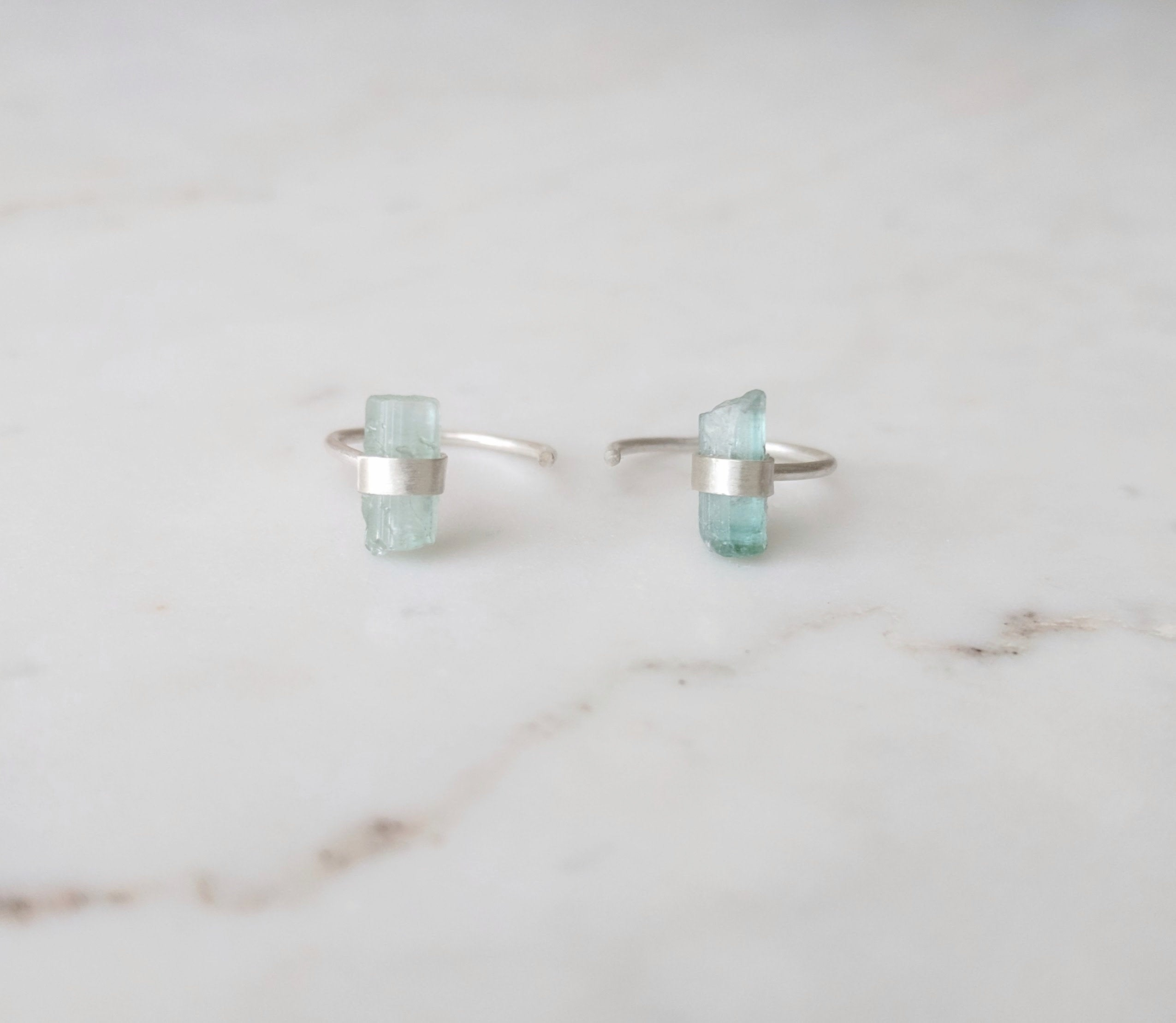 Raw Tourmaline Huggie Earrings | Sterling Silver Hoops