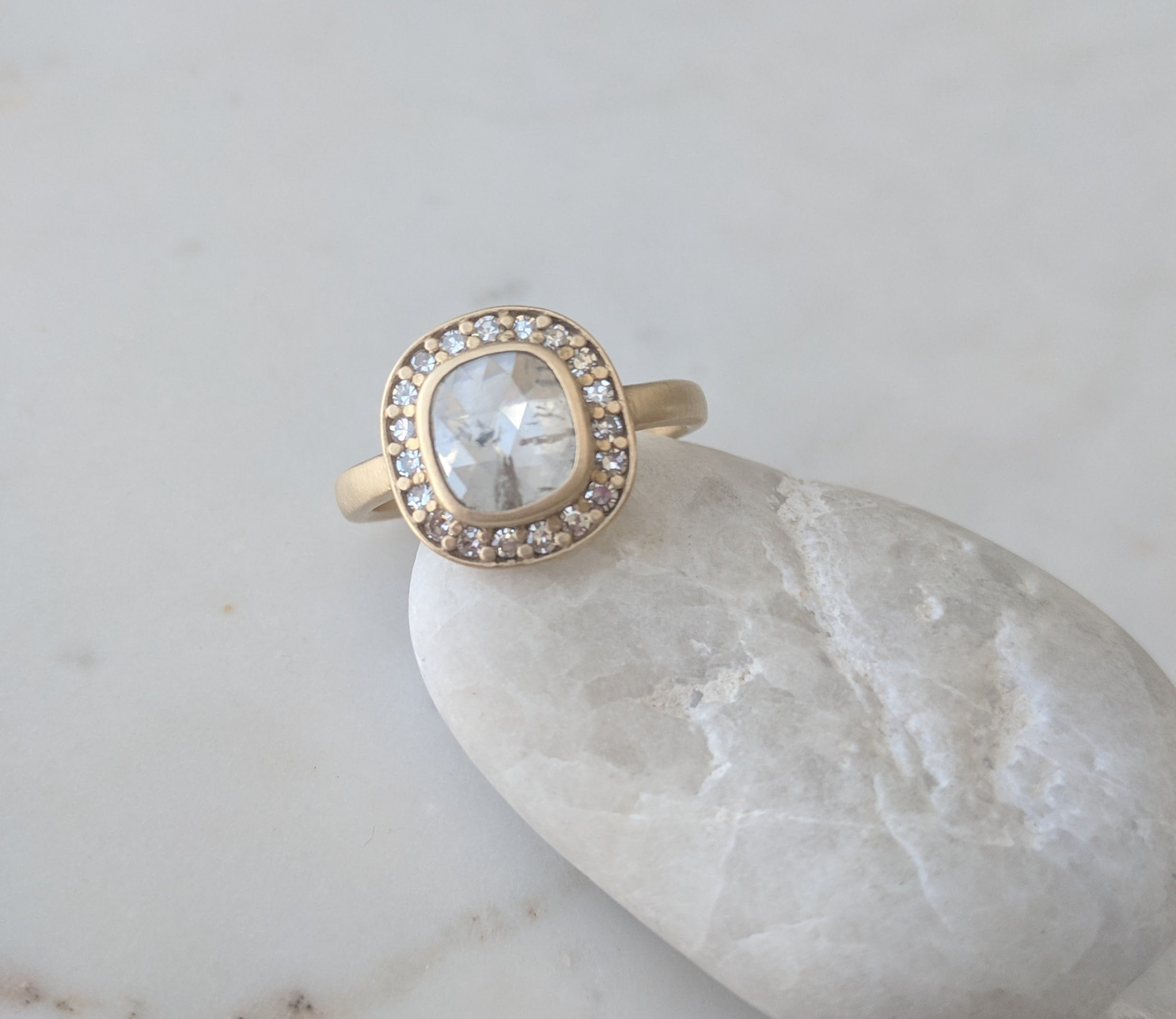 Translucent Cushion Diamond Halo Ring in 14K Yellow Gold