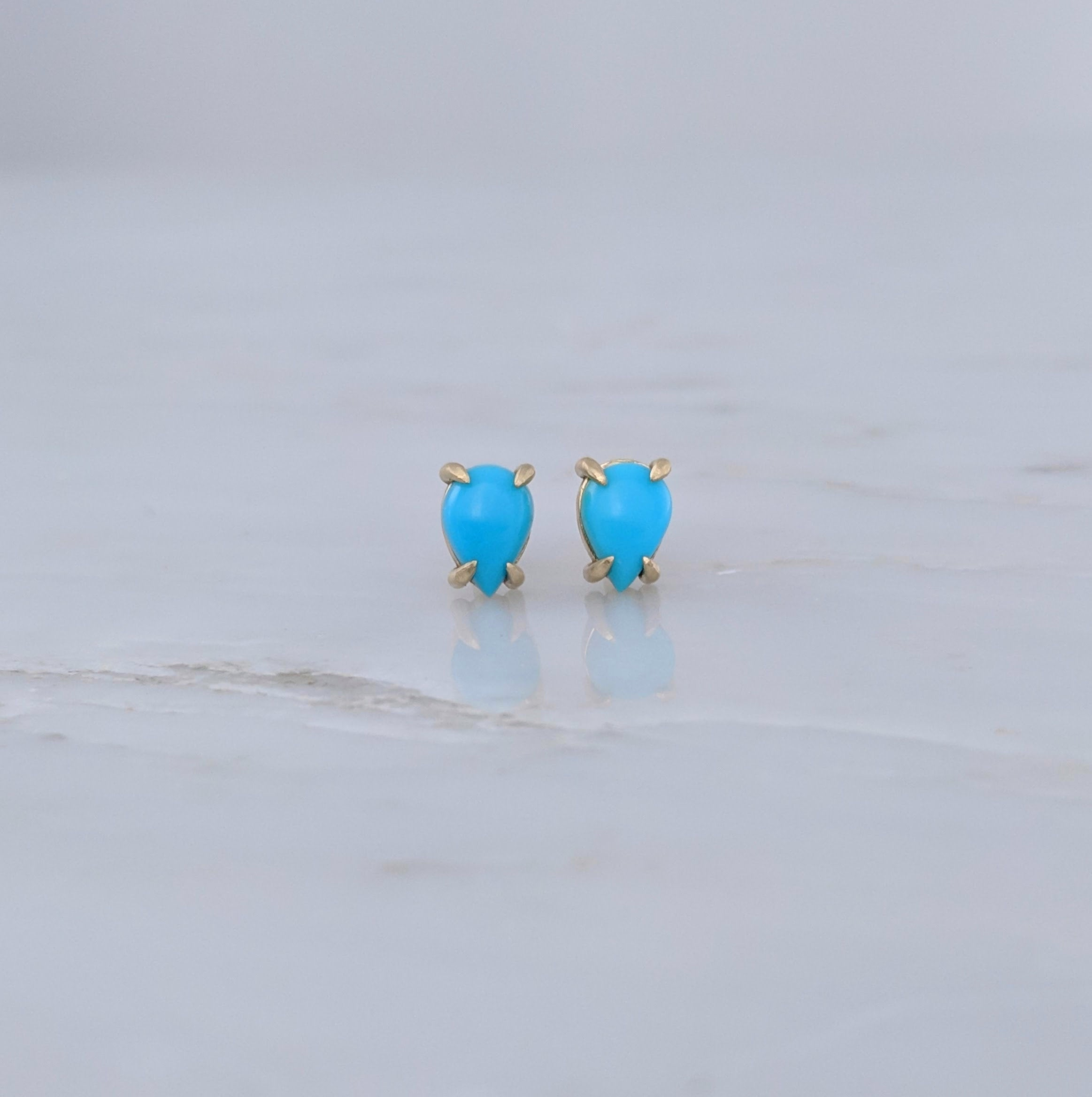 Turquoise Stud Earrings | 14K Gold