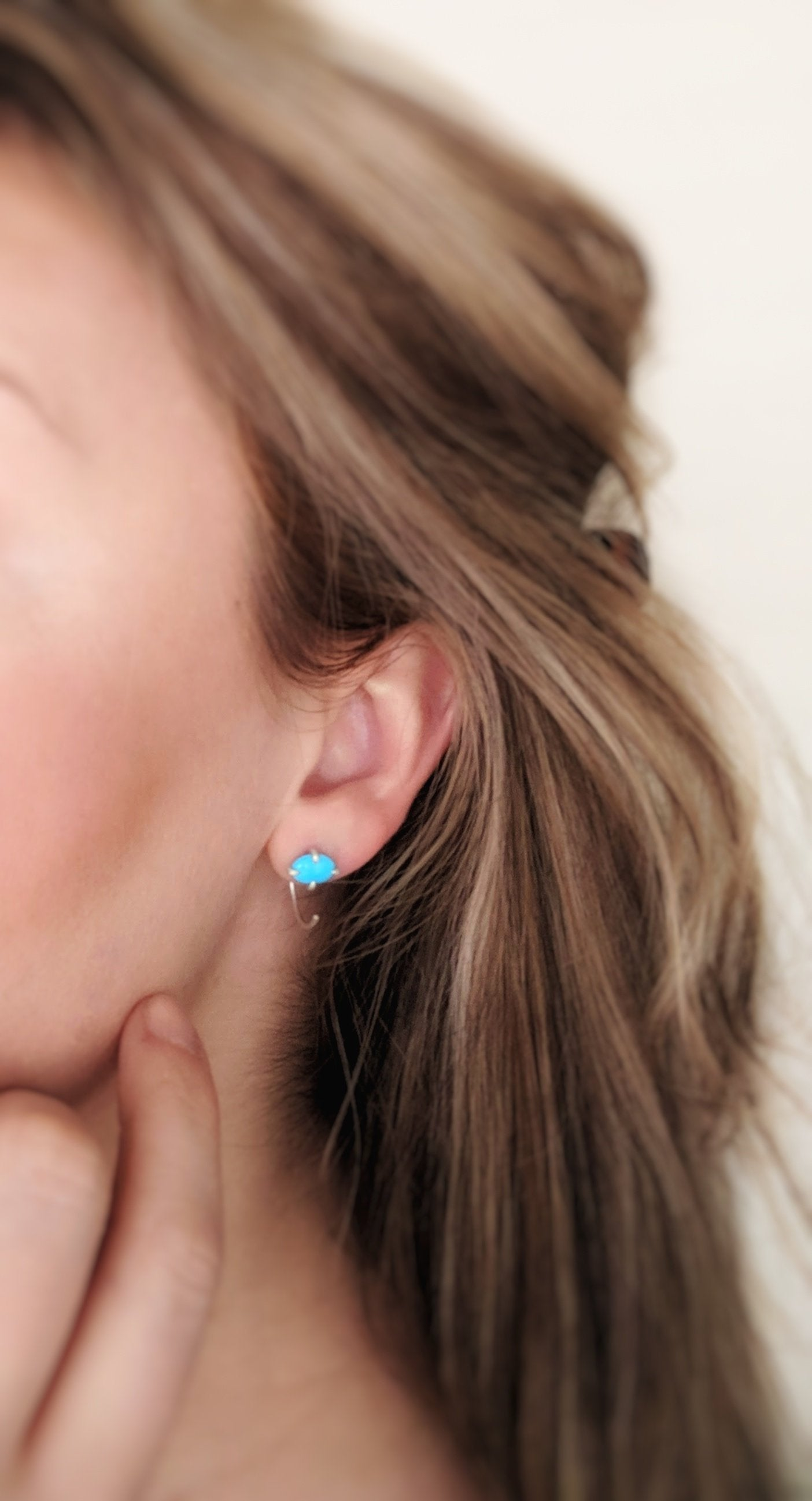 Turquoise Huggie Earrings | Sterling Silver Hoops