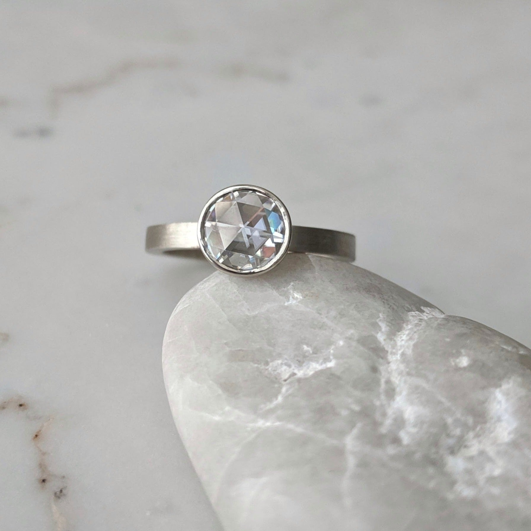 Rose Cut Moissanite Floating Bezel Ring | 14K White Gold