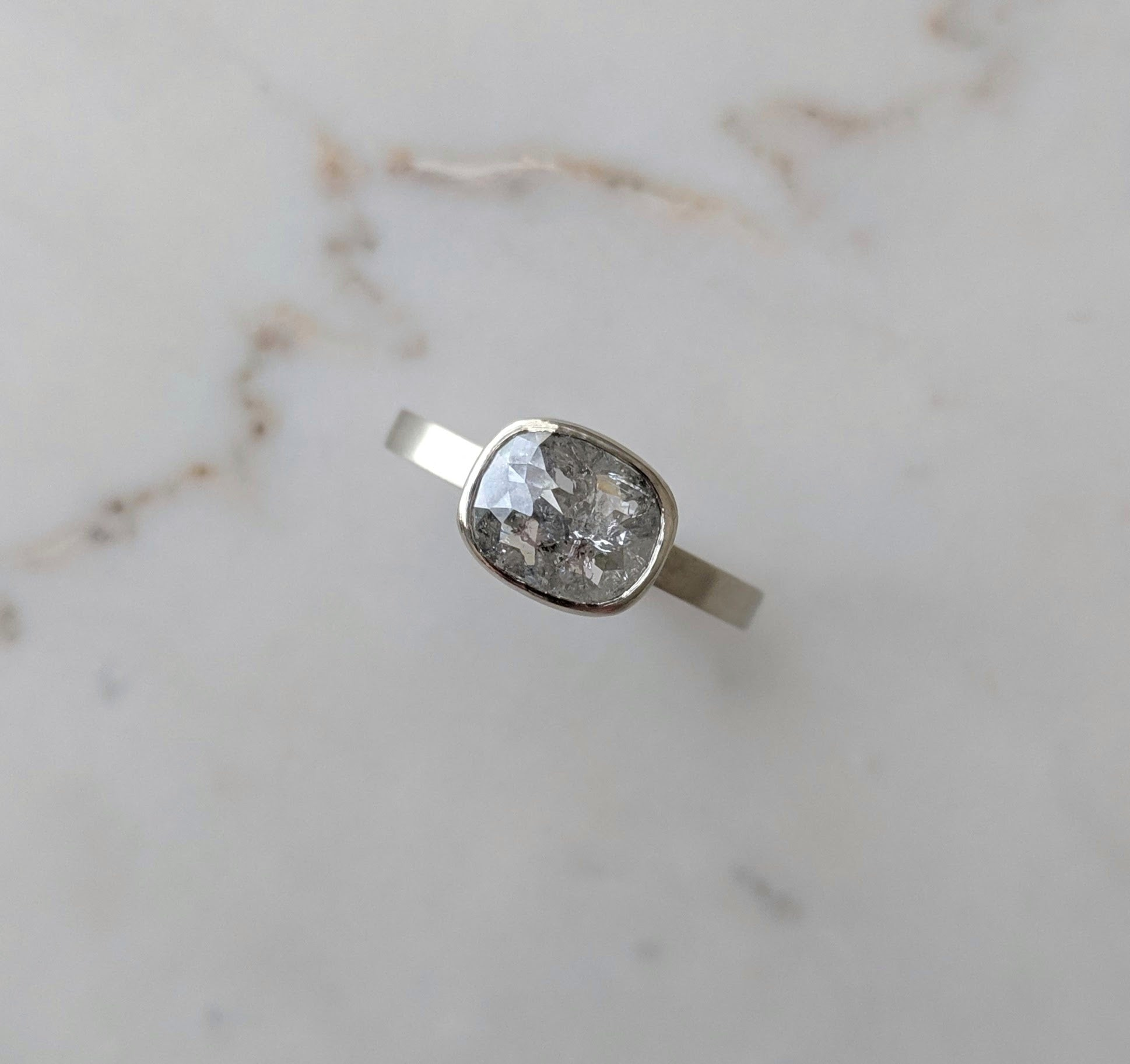 East + West Cushion Diamond Floating Bezel Ring | 14K White Gold